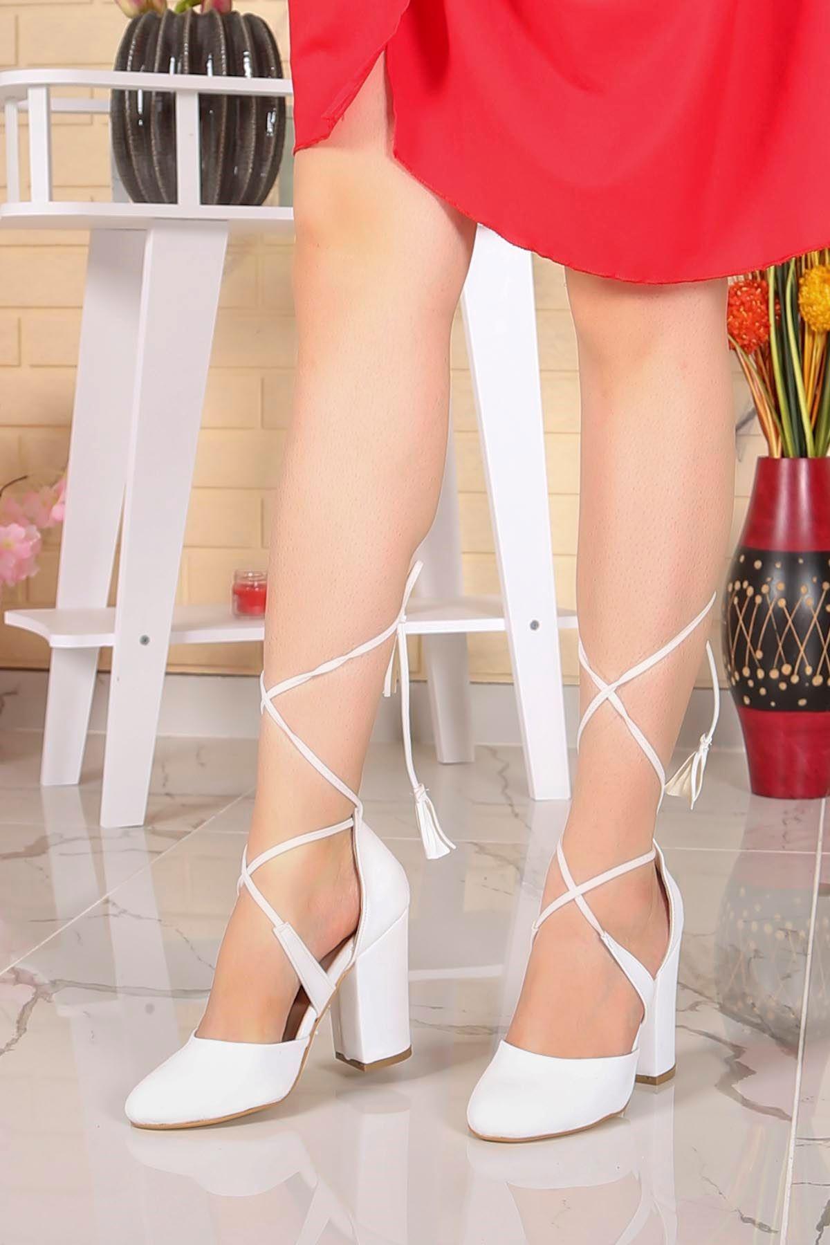Tog-701 Bilekten Bağlamalı Topuklu Ayakkabı Beyaz Deri