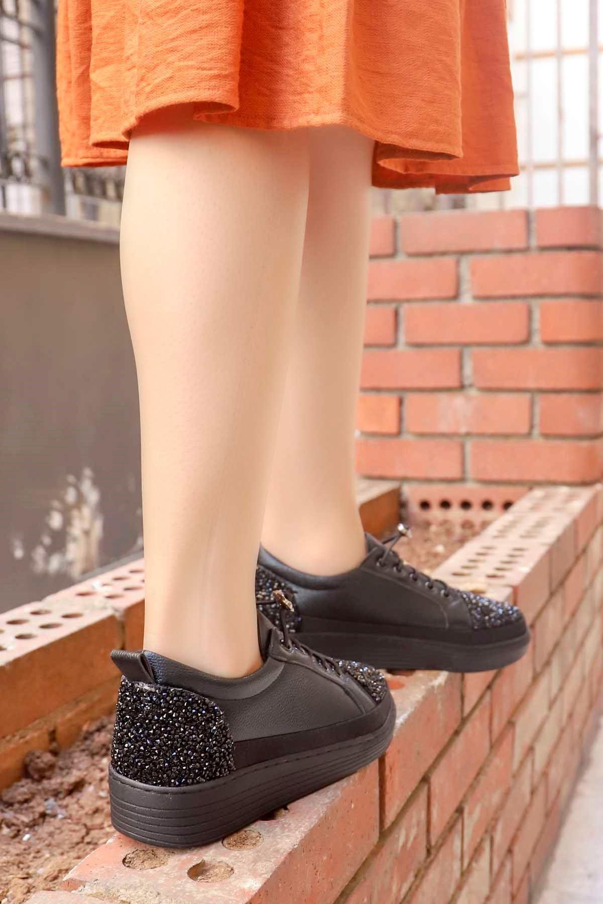 mami-077 Taş Detay Spor Ayakkabı Siyah Deri