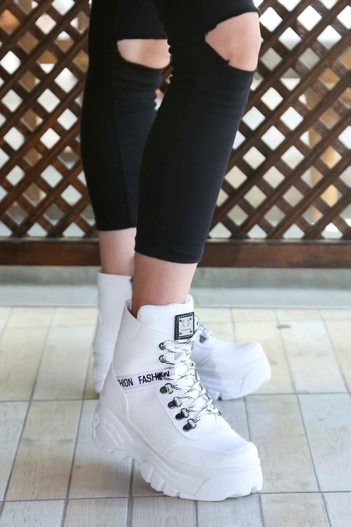 mami-701 Fashion Spor Bot Beyaz Deri