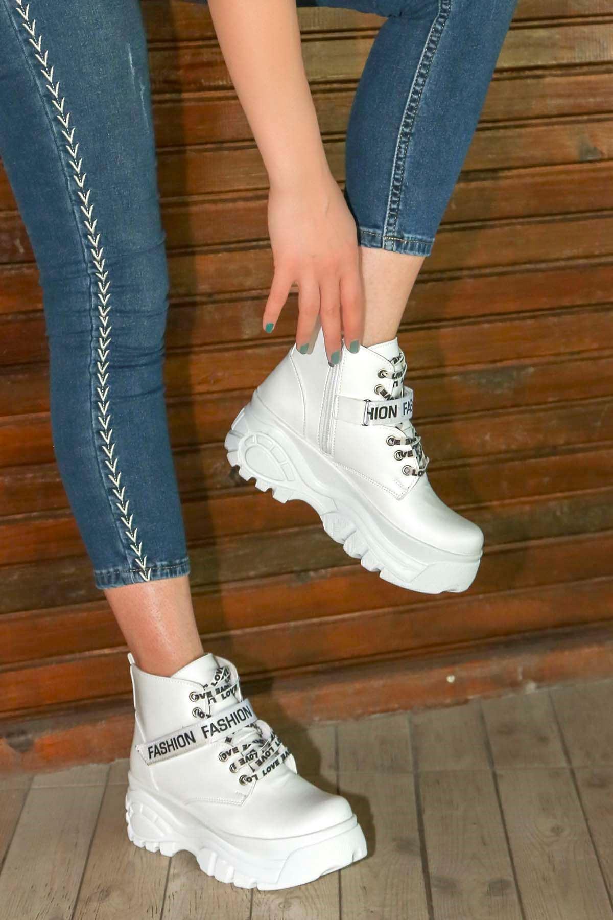 mami-112 Fashion Spor Bot Beyaz Deri