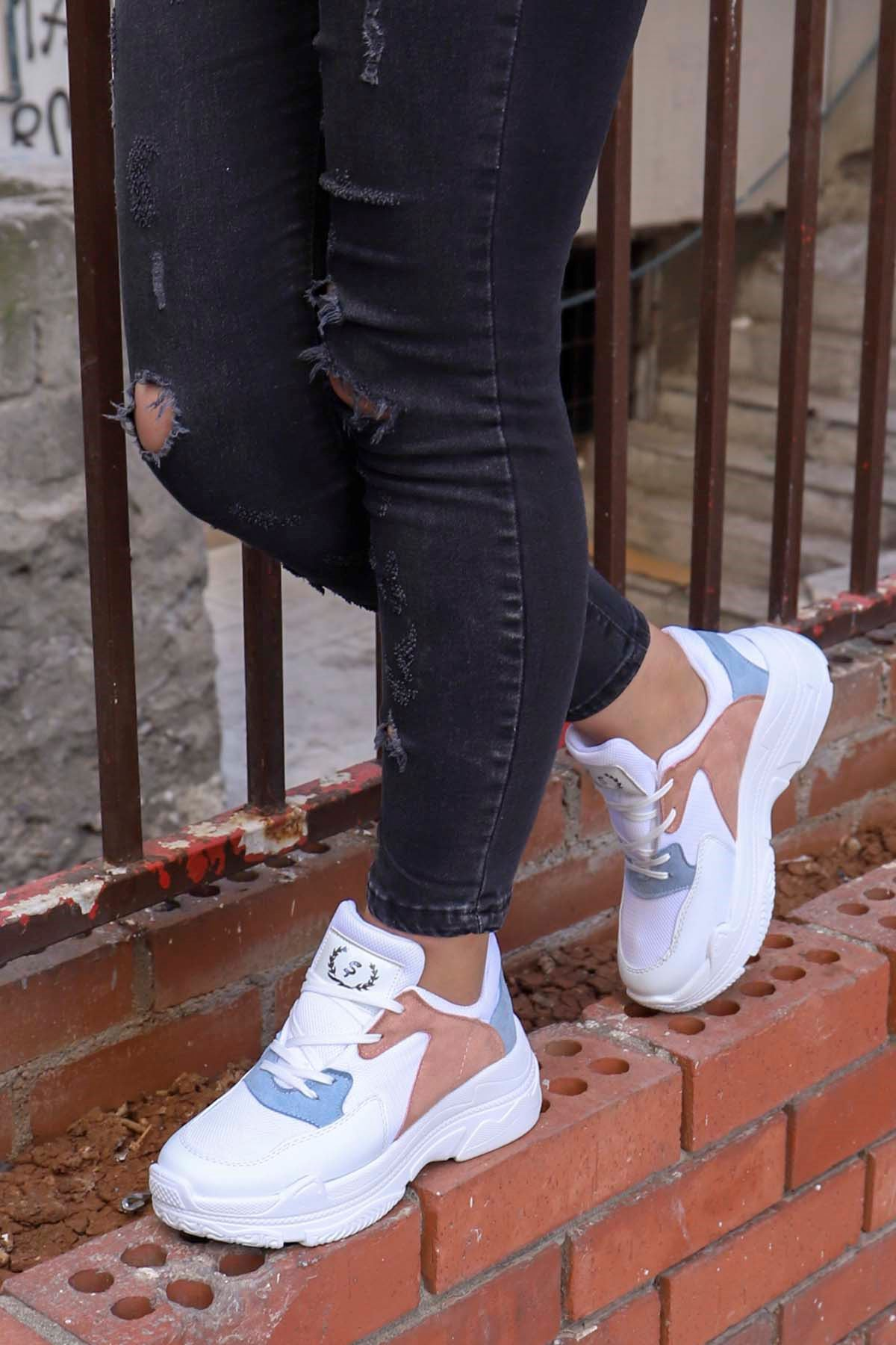 Snz-701 Tabanlı Spor Ayakkabı Beyaz Mavi