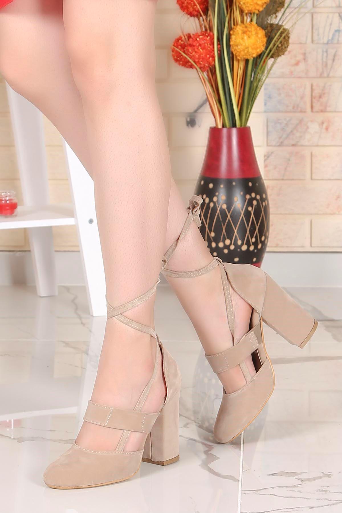 Tog-501 Bilekten Bağlamalı Topuklu Ayakkabı Vizon  Süet