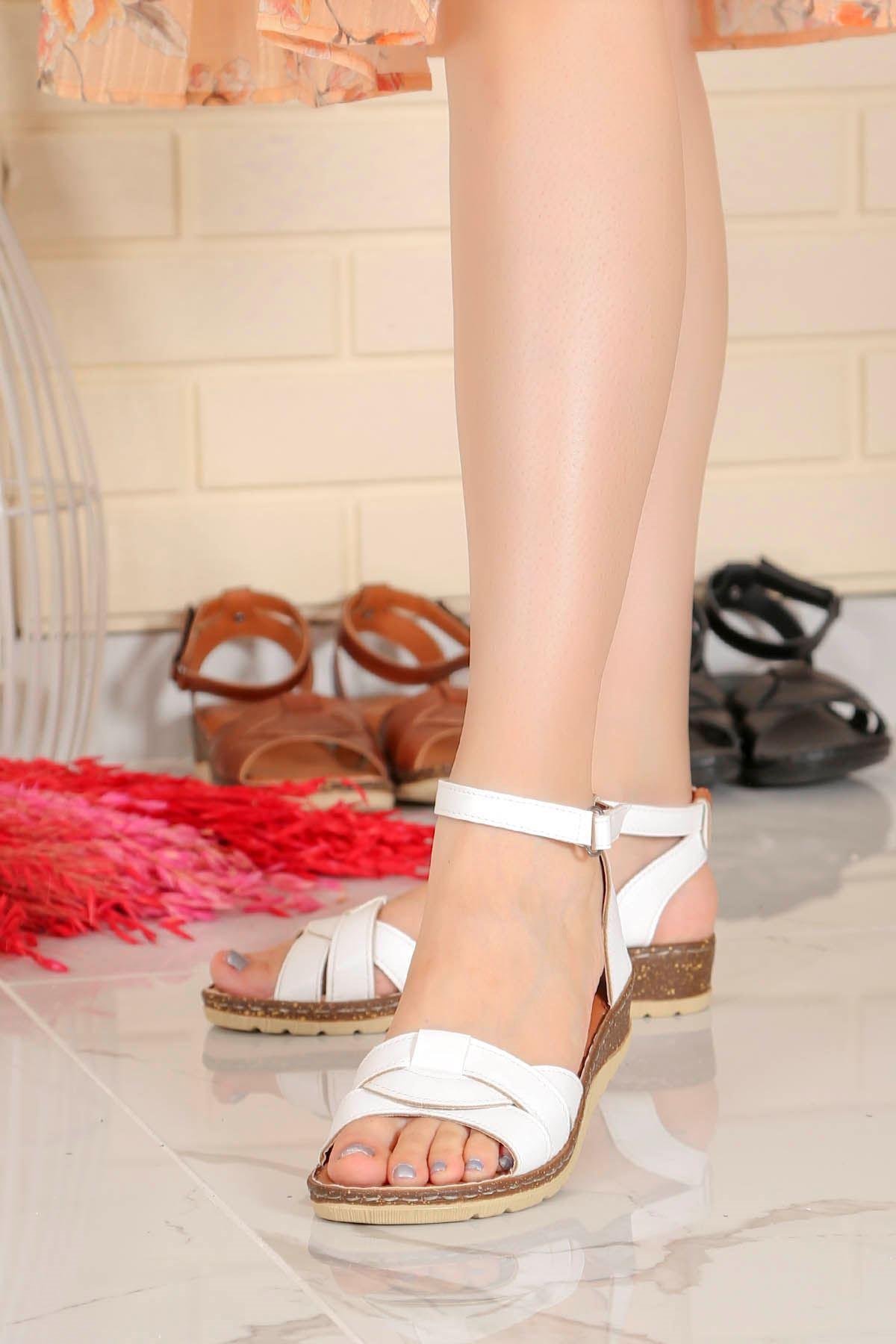 My-Fit-466 Sandalet Beyaz Deri