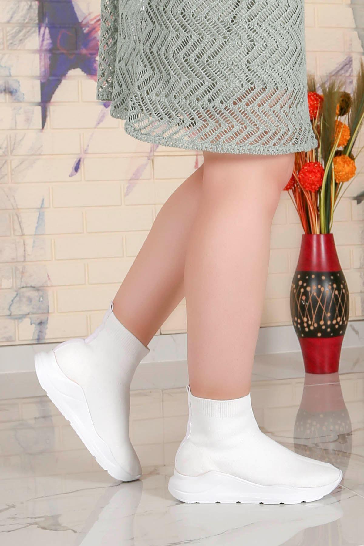 Wagner Triko Çorap Spor Ayakkabı Beyaz