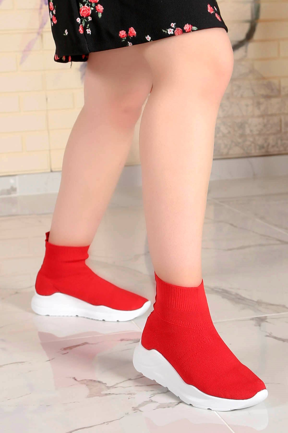 Wagner Triko Çorap Spor Ayakkabı Kırmızı