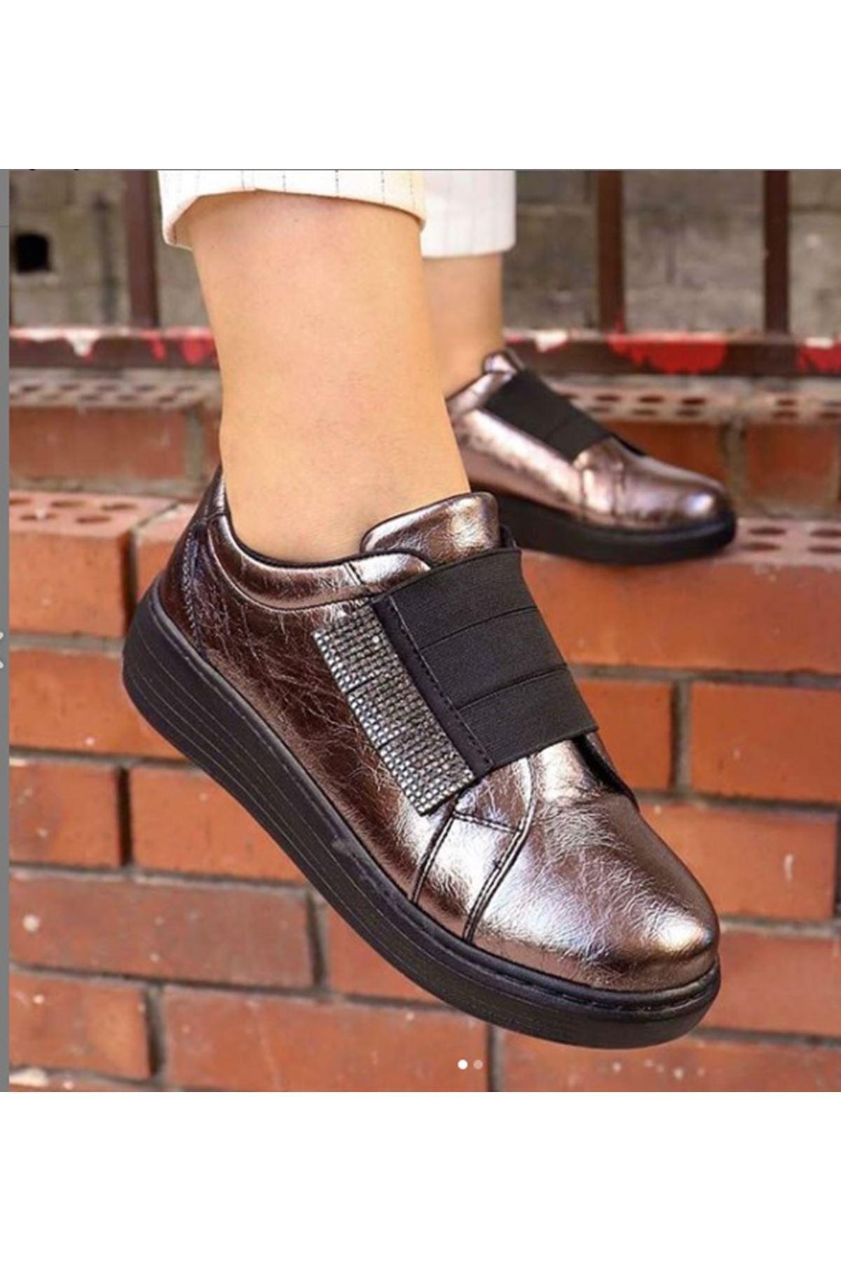 Myf-Lastik Taş Detay Spor Ayakkabı Platin