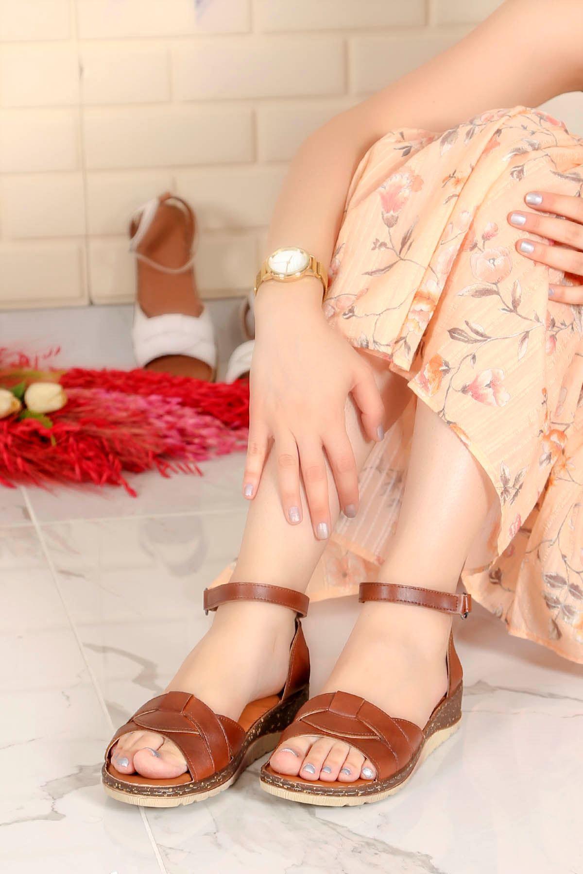 My-Fit-466 Sandalet Taba Deri