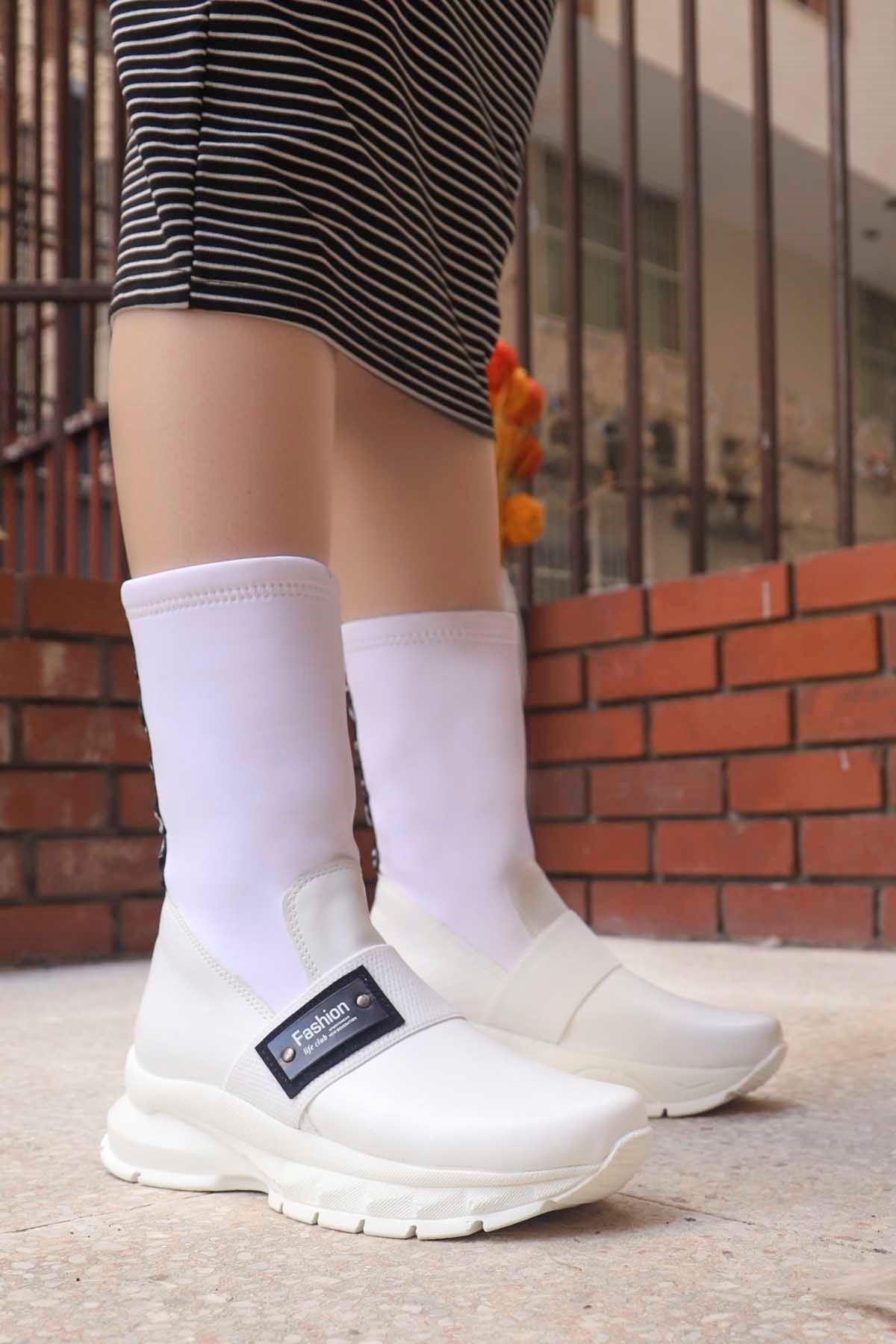 mami-303 Fashion Streç Çorap Bot Beyaz