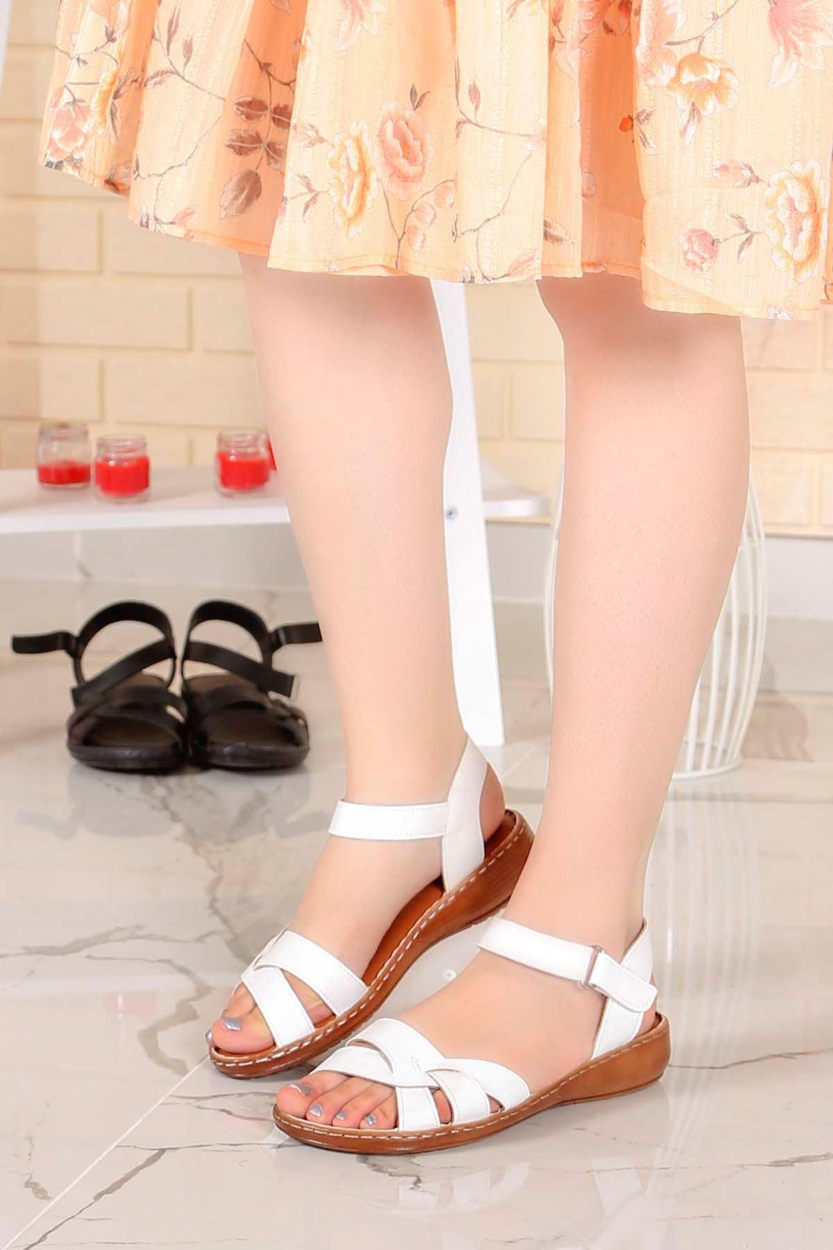 My-Fit-355 Sandalet Beyaz Deri