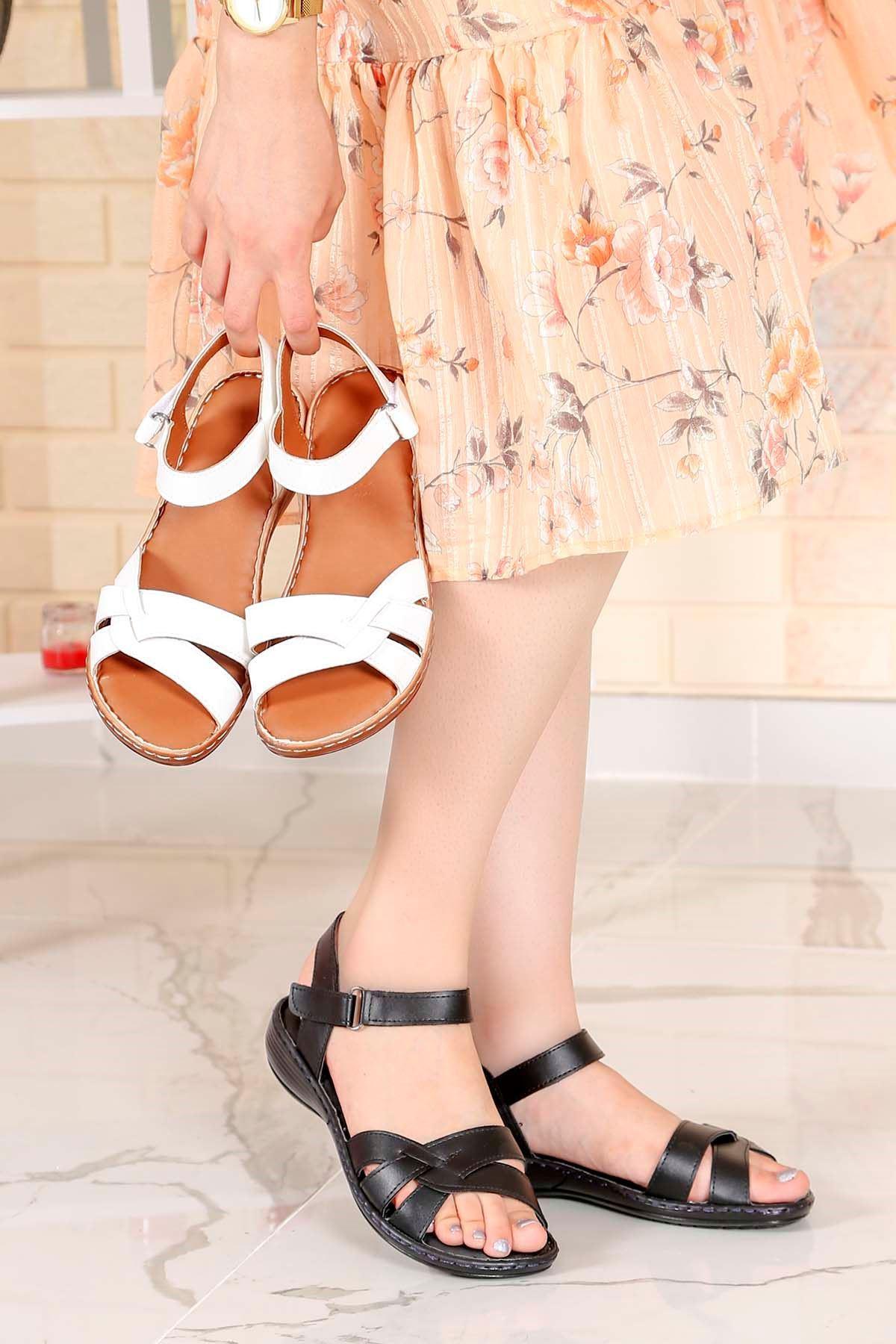 My-Fit-355 Sandalet Siyah  Deri