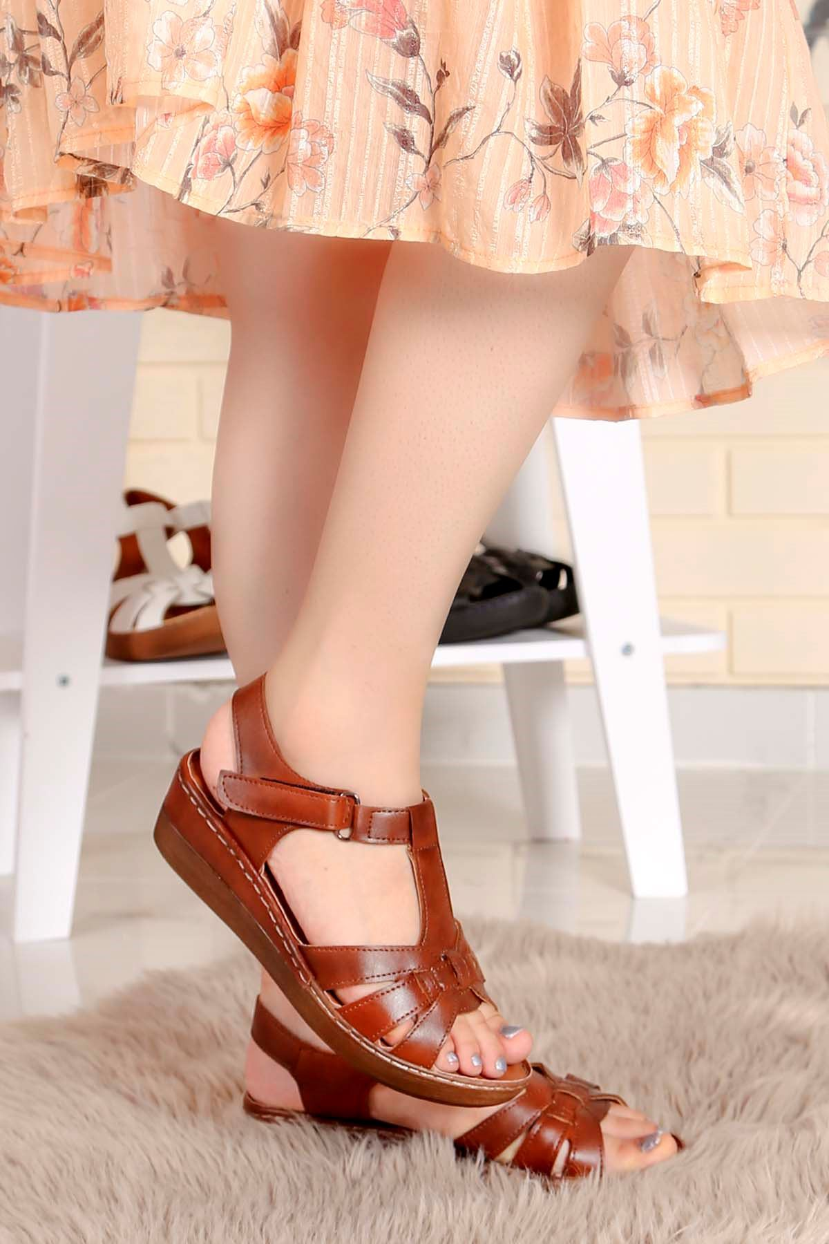 My-Fit-272 Taban Sandalet Taba Deri