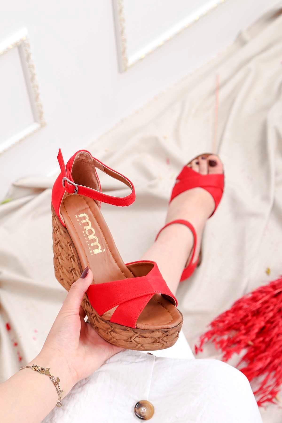 Frm-003 Yüksek Taban Sandalet Kırmızı Süet