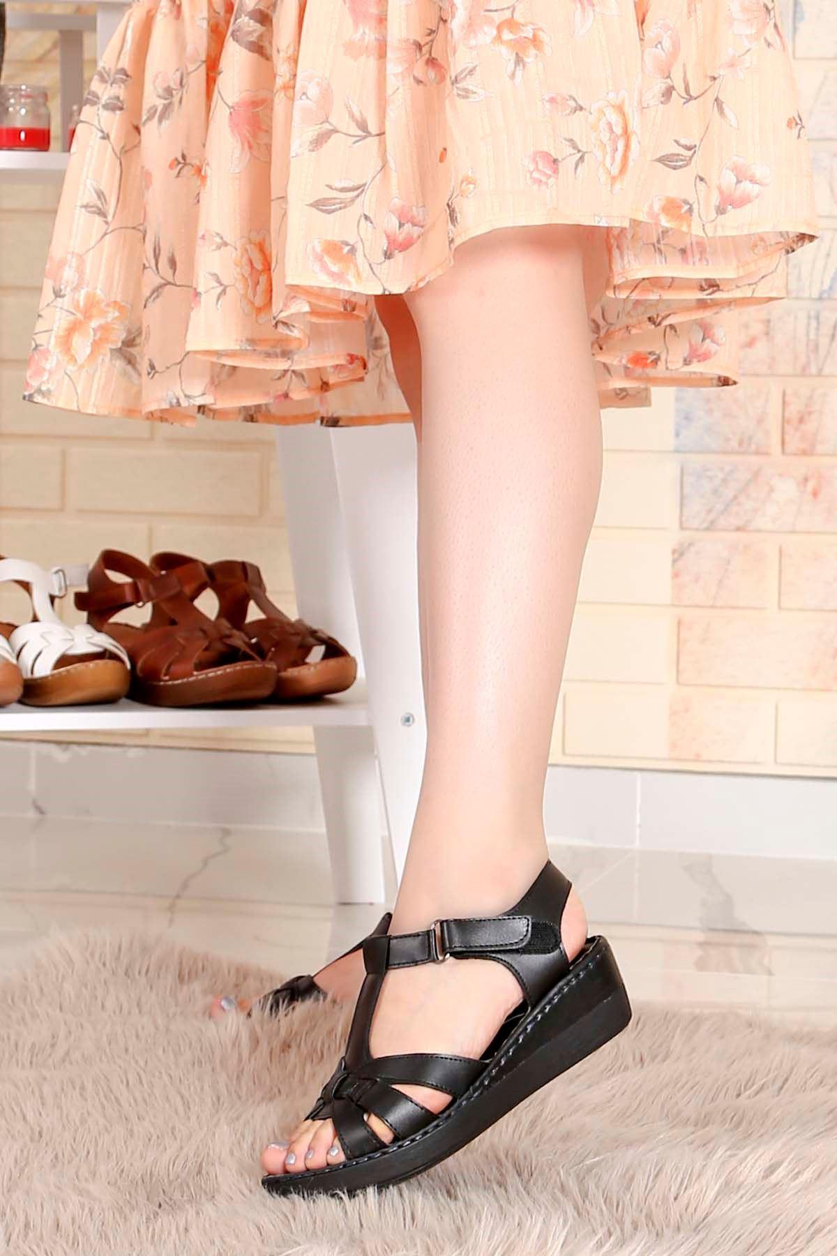 My-Fit-272 Taban Sandalet Siyah  Deri