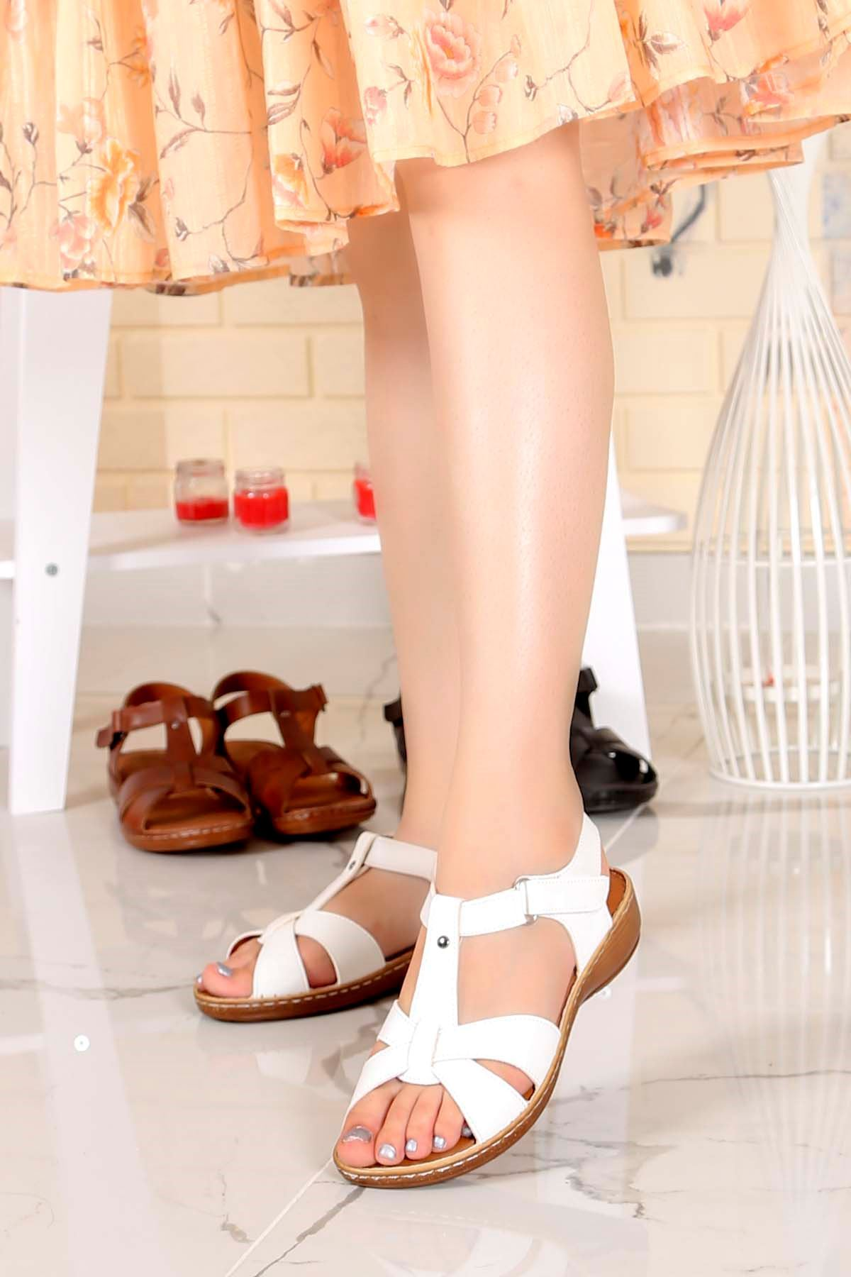 My-Fit-701 Konfor Sandalet Beyaz Deri