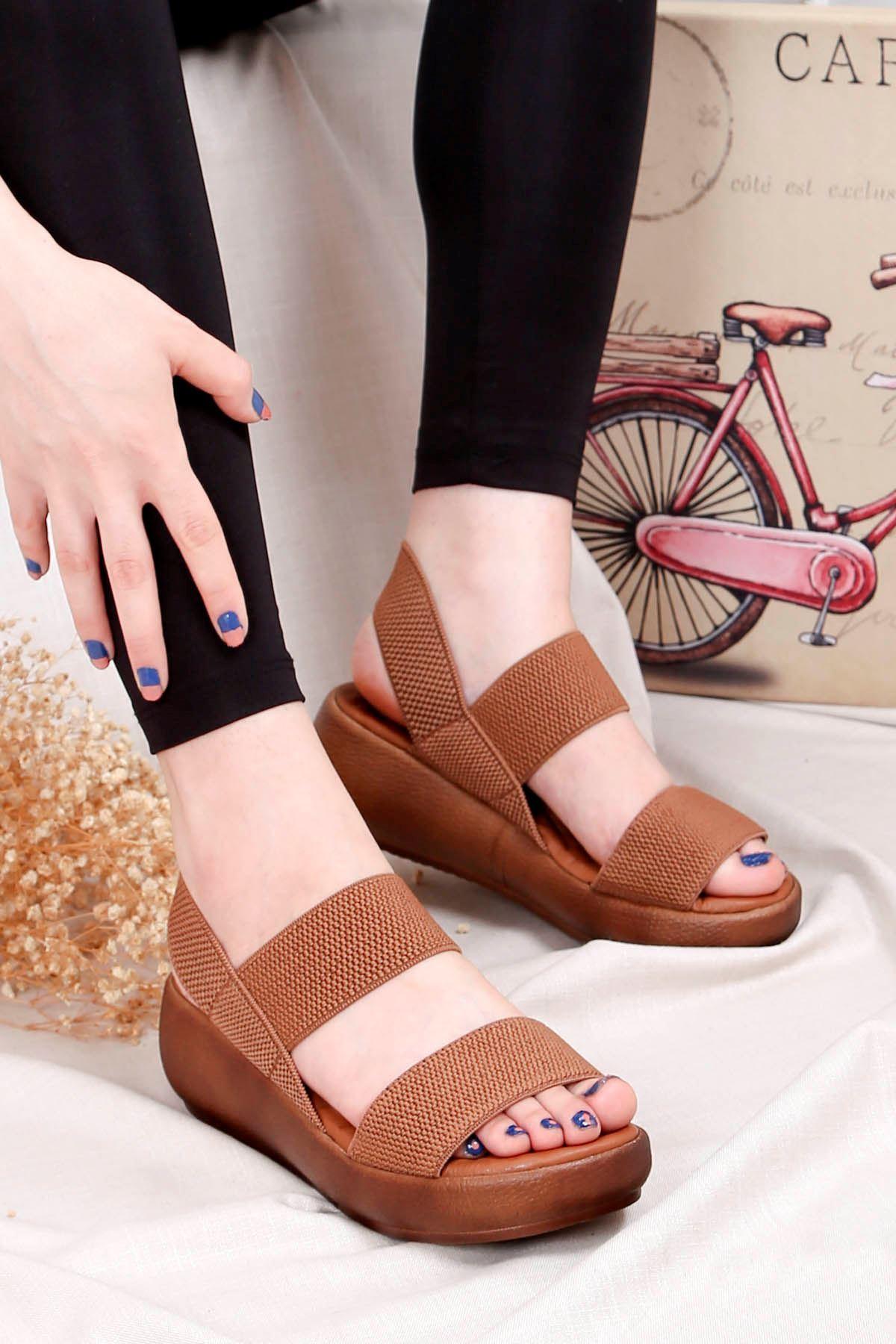 Bella-Dolgu Taban Lastikli Sandalet Taba
