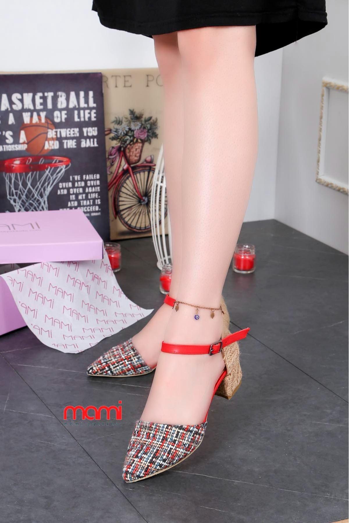 Fls - 400 kilim Desen Topuklu Ayakkabı Kırmızı
