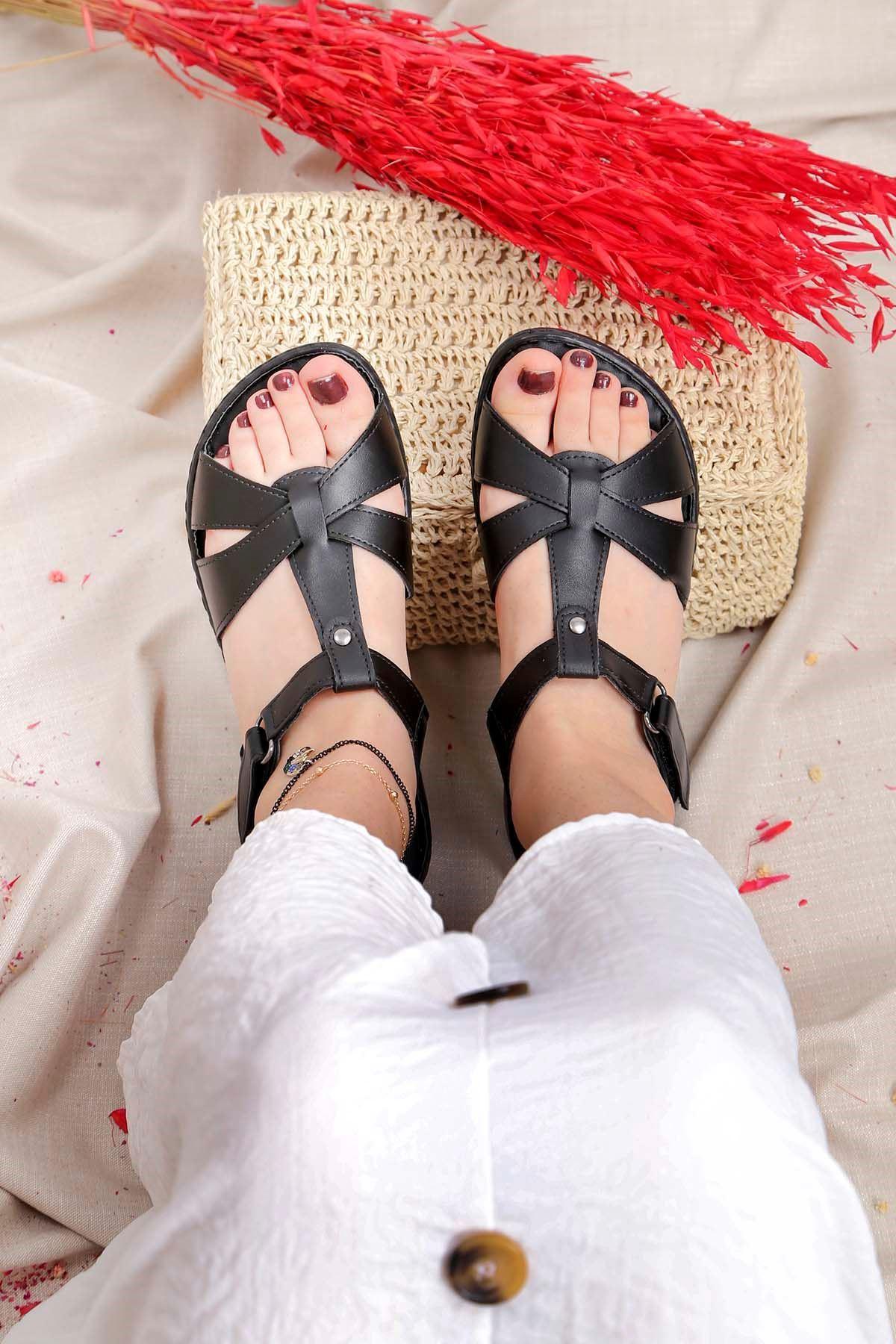 My-Fit-701 Konfor Sandalet Siyah Deri