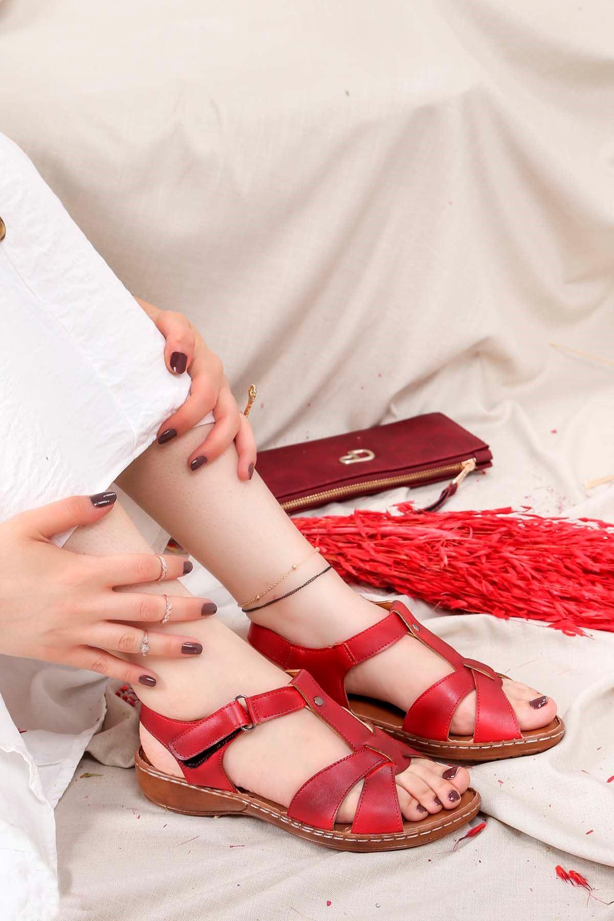 My-Fit-701 Konfor Sandalet Kırmızı deri