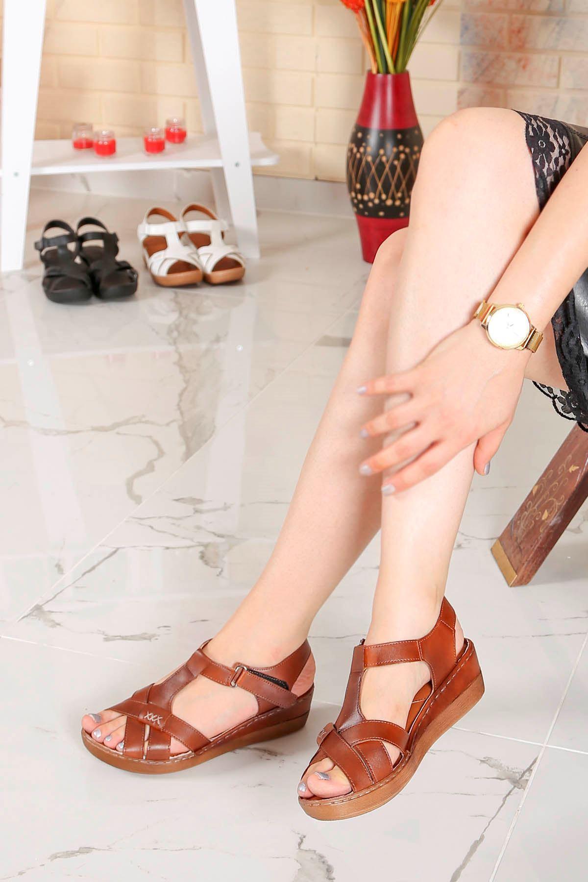 My-Fit-18 Dolgu Taban Sandalet Taba Deri