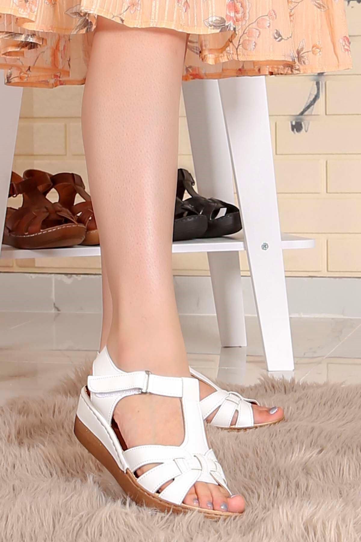My-Fit-272 Dolgu Taban Sandalet Beyaz Deri