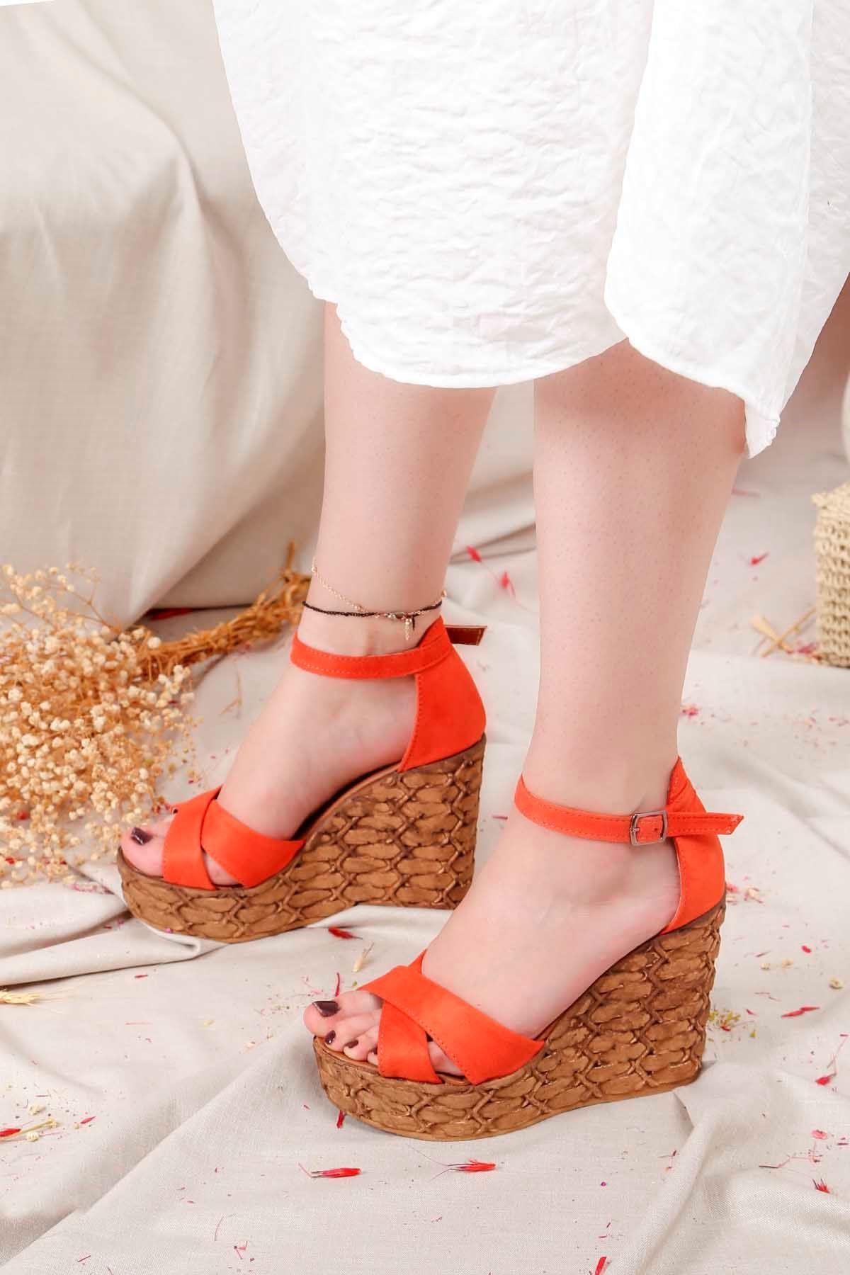 Frm-003 Yüksek Taban Sandalet Turuncu Süet
