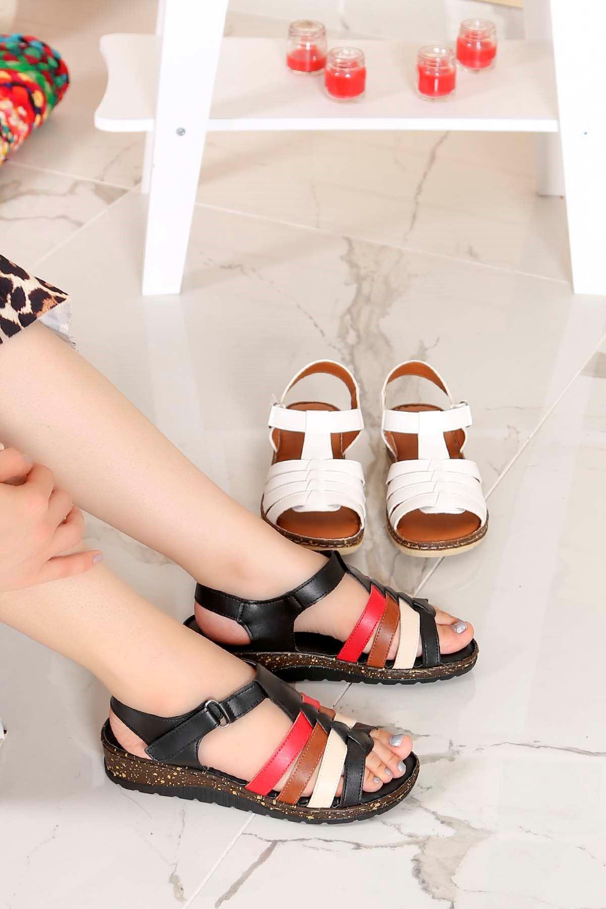 My-Fit-112 Sandalet Siyah Deri