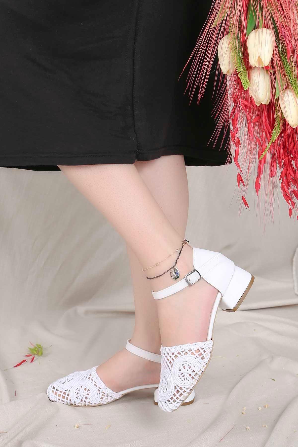 Fls-800 Dantel Detay Ayakkabı Beyaz