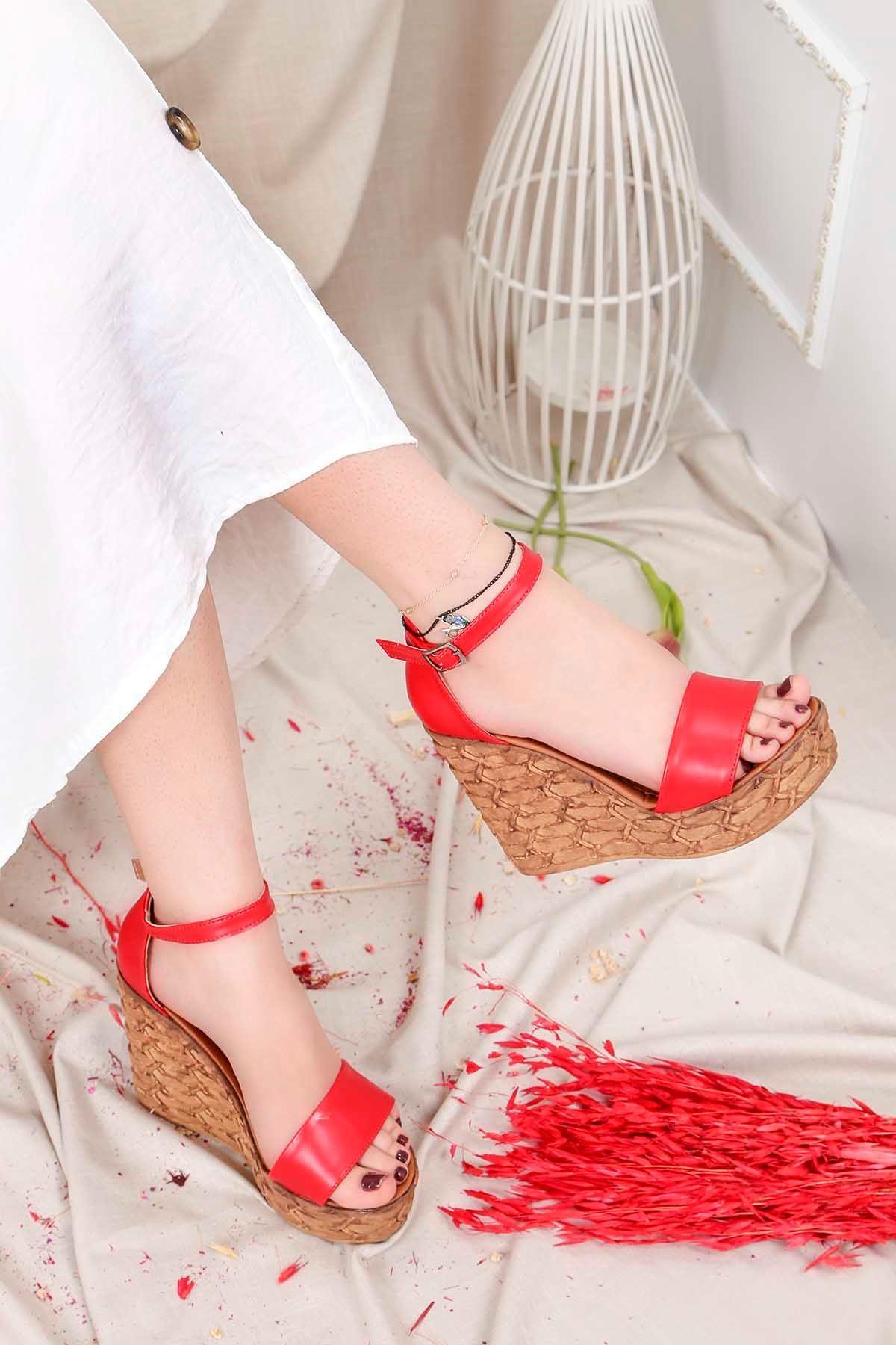Frm-001 Yüksek Taban Sandalet Kırmızı Deri