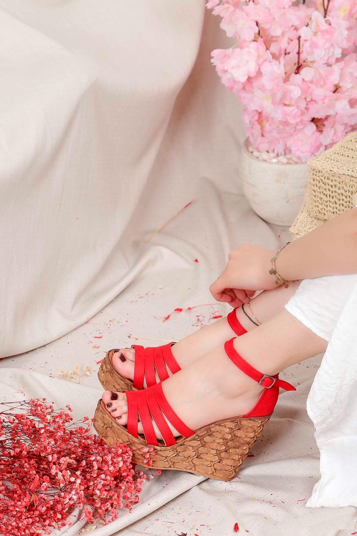 Frm-004 Yüksek Taban Sandalet Kırmızı Süet