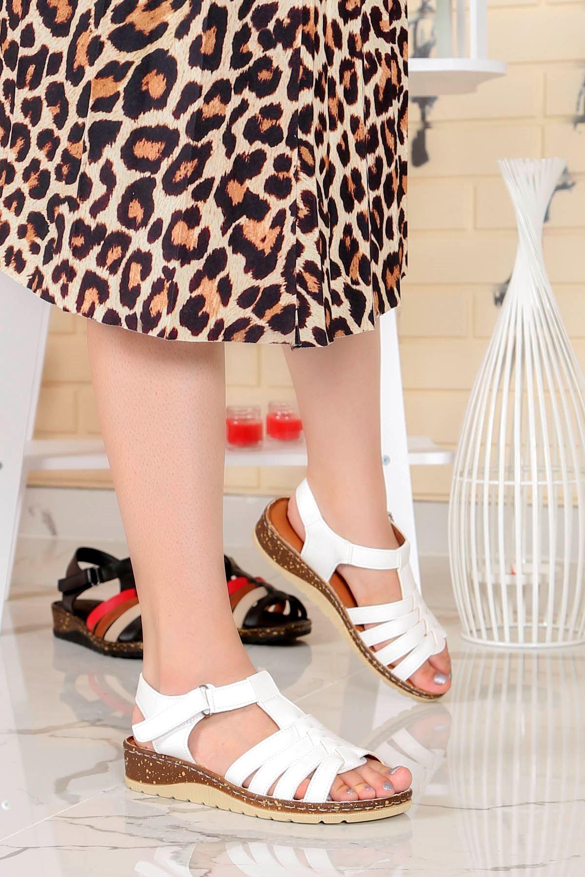 My-Fit-112  Sandalet Beyaz Deri