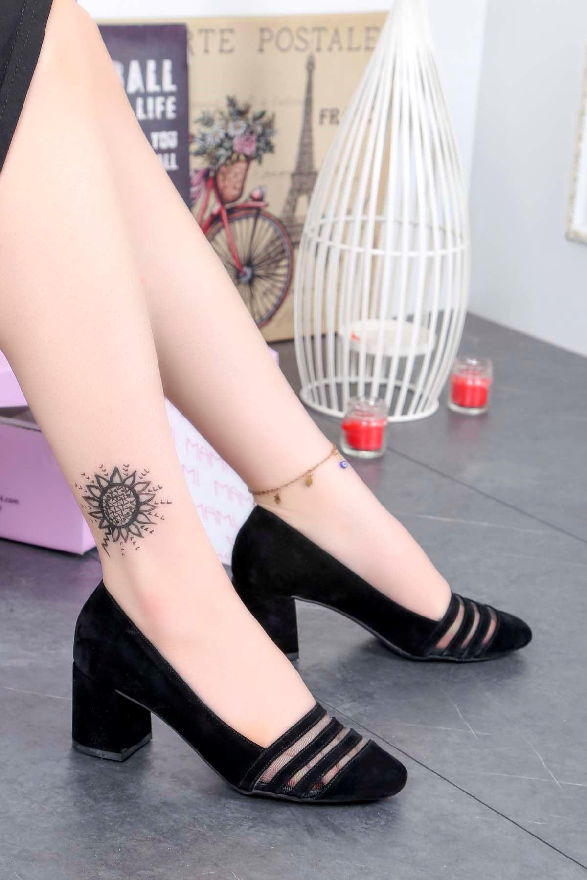 Fls-500 Tül Detay Ayakkabı Siyah Süet