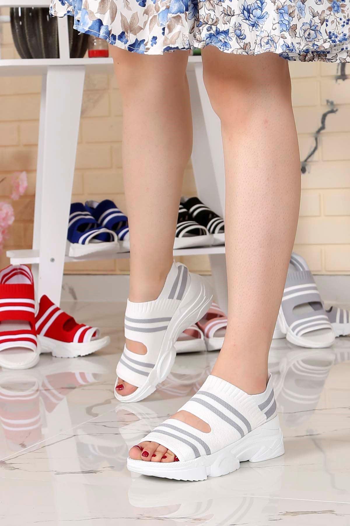 Brk-101 Triko Sandalet Beyaz