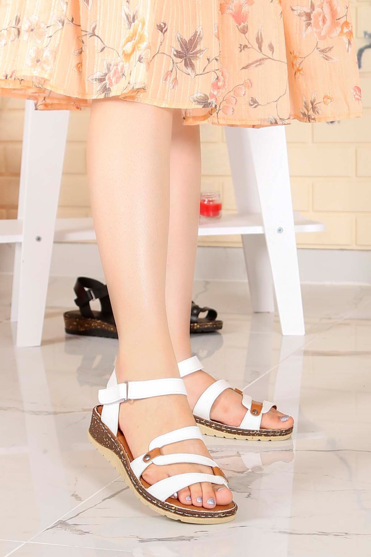 My-Fit-77 Konfor Taban Sandalet Beyaz Deri