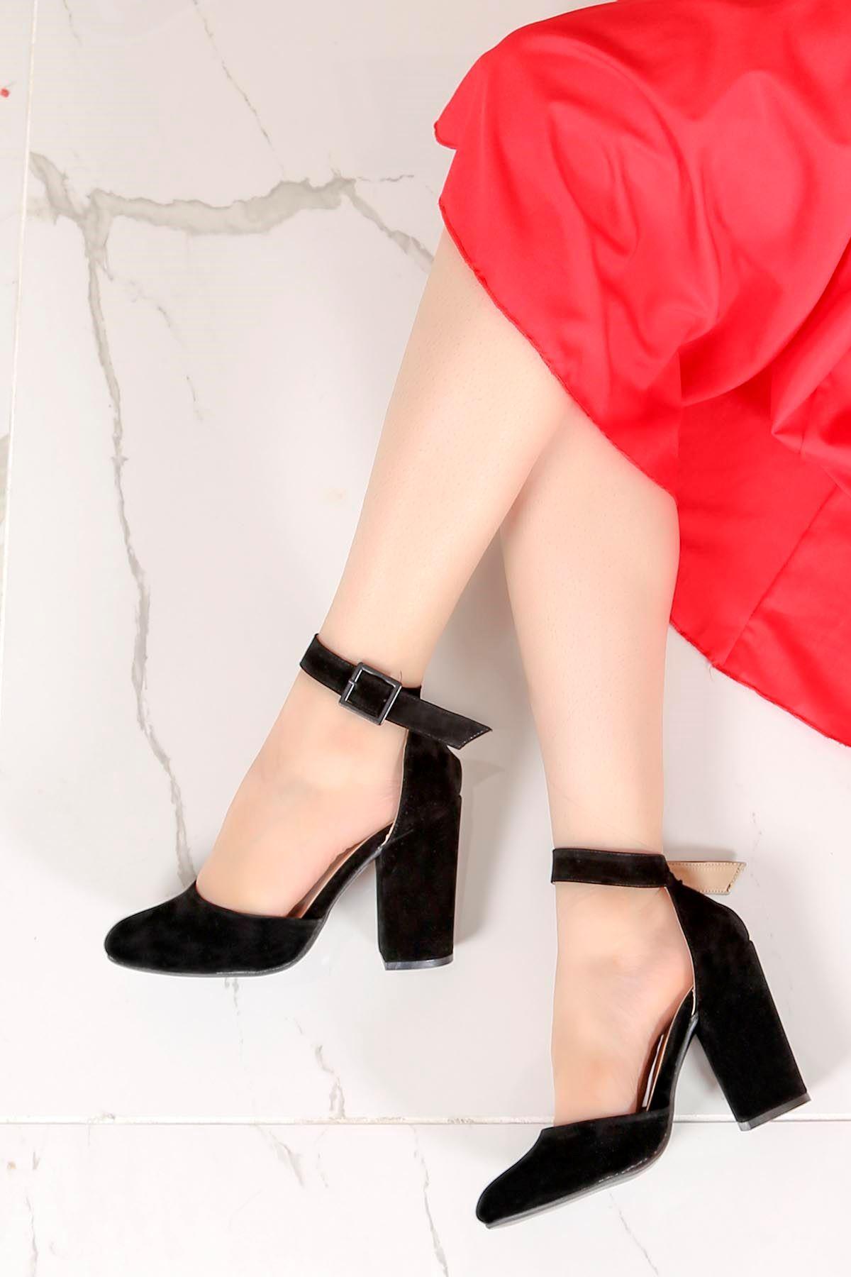 Tog-801 Bilekten Tokalı Topuklu Ayakkabı Siyah Süet