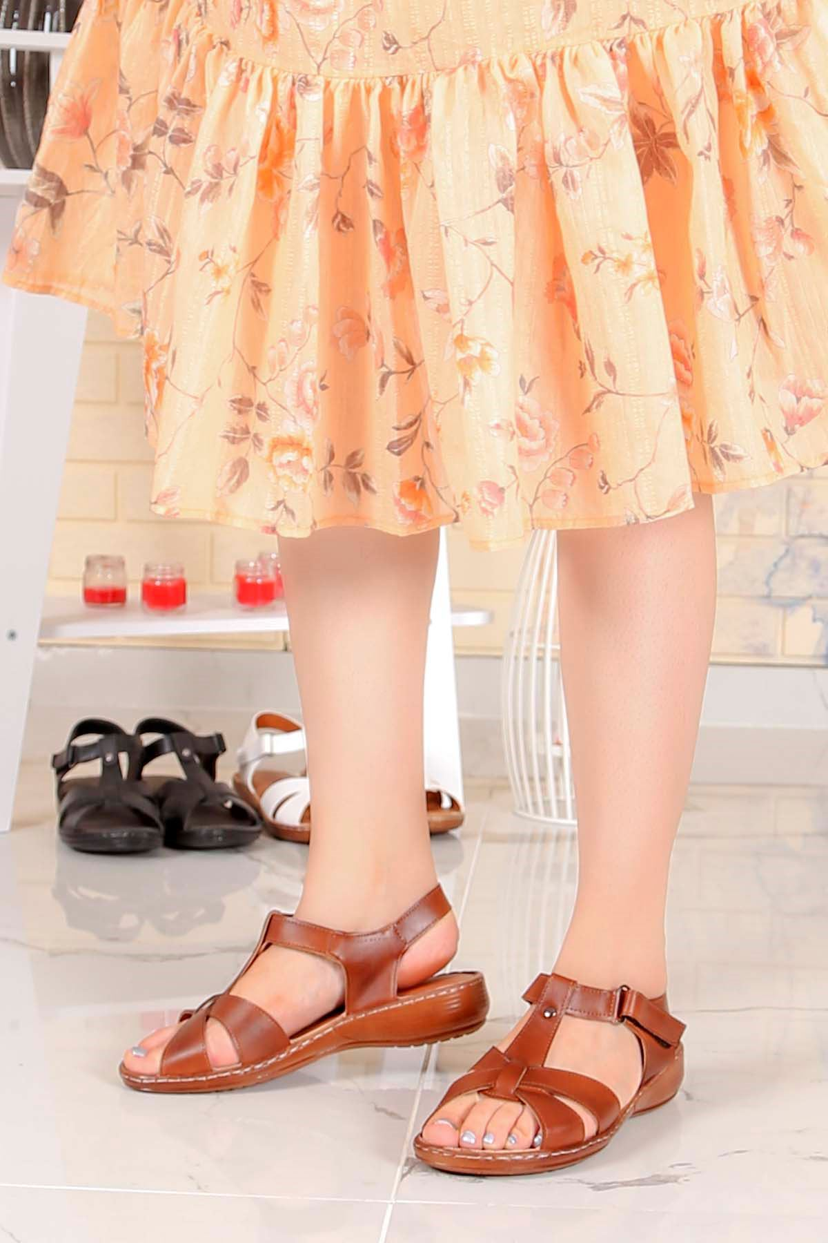 My-Fit-701 Konfor Sandalet Taba Deri