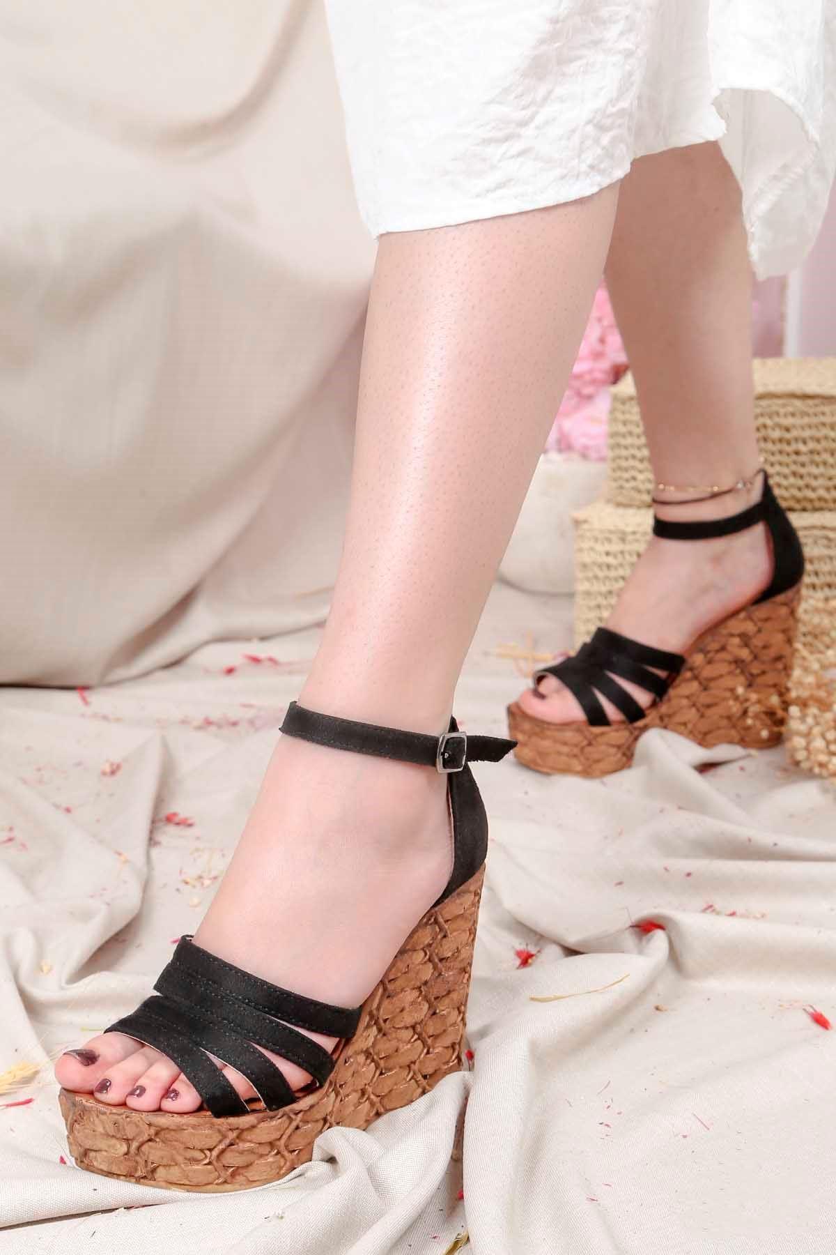 Frm-004 Yüksek Taban Sandalet Siyah Süet
