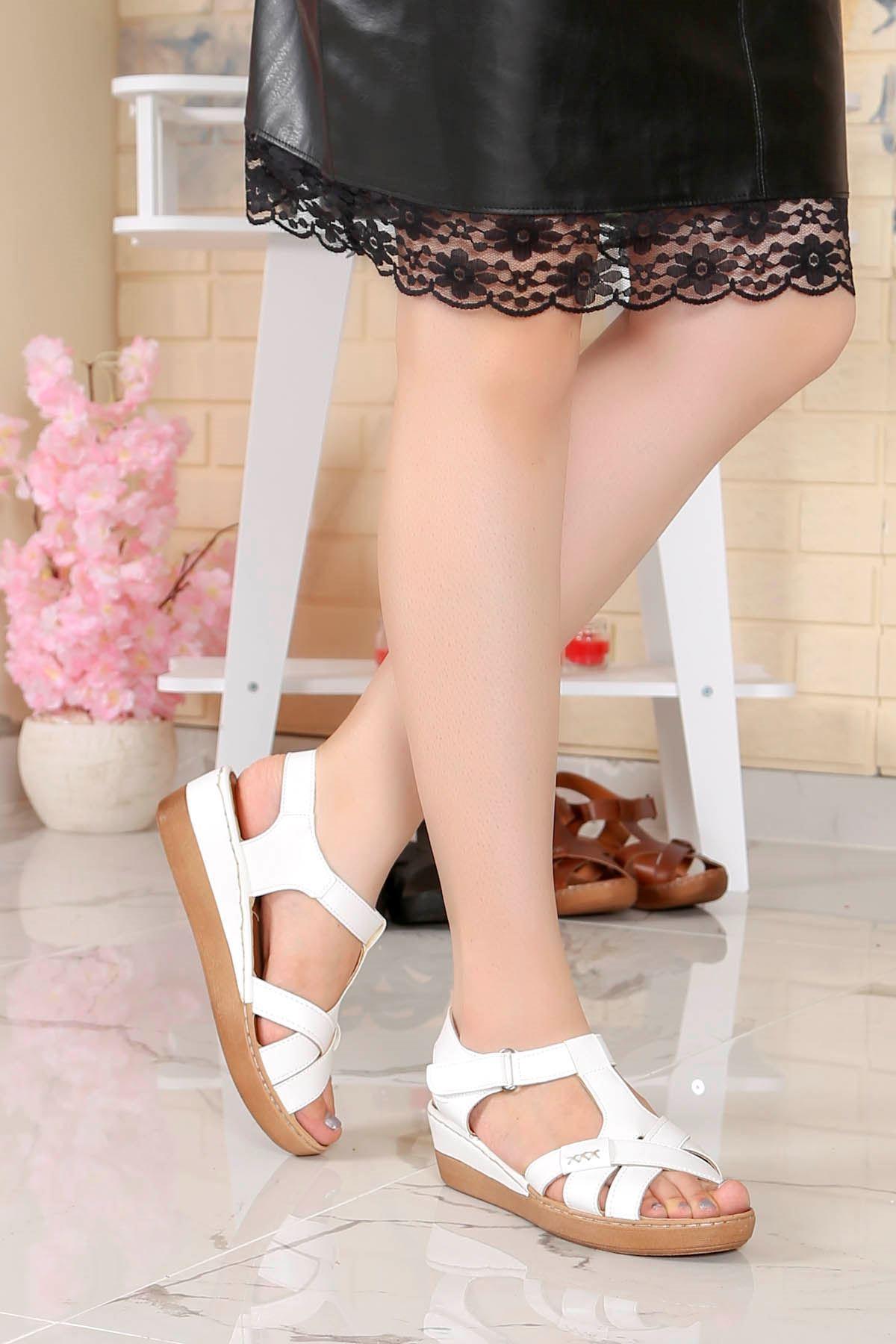 My-Fit-18 Dolgu Taban Sandalet Beyaz Deri