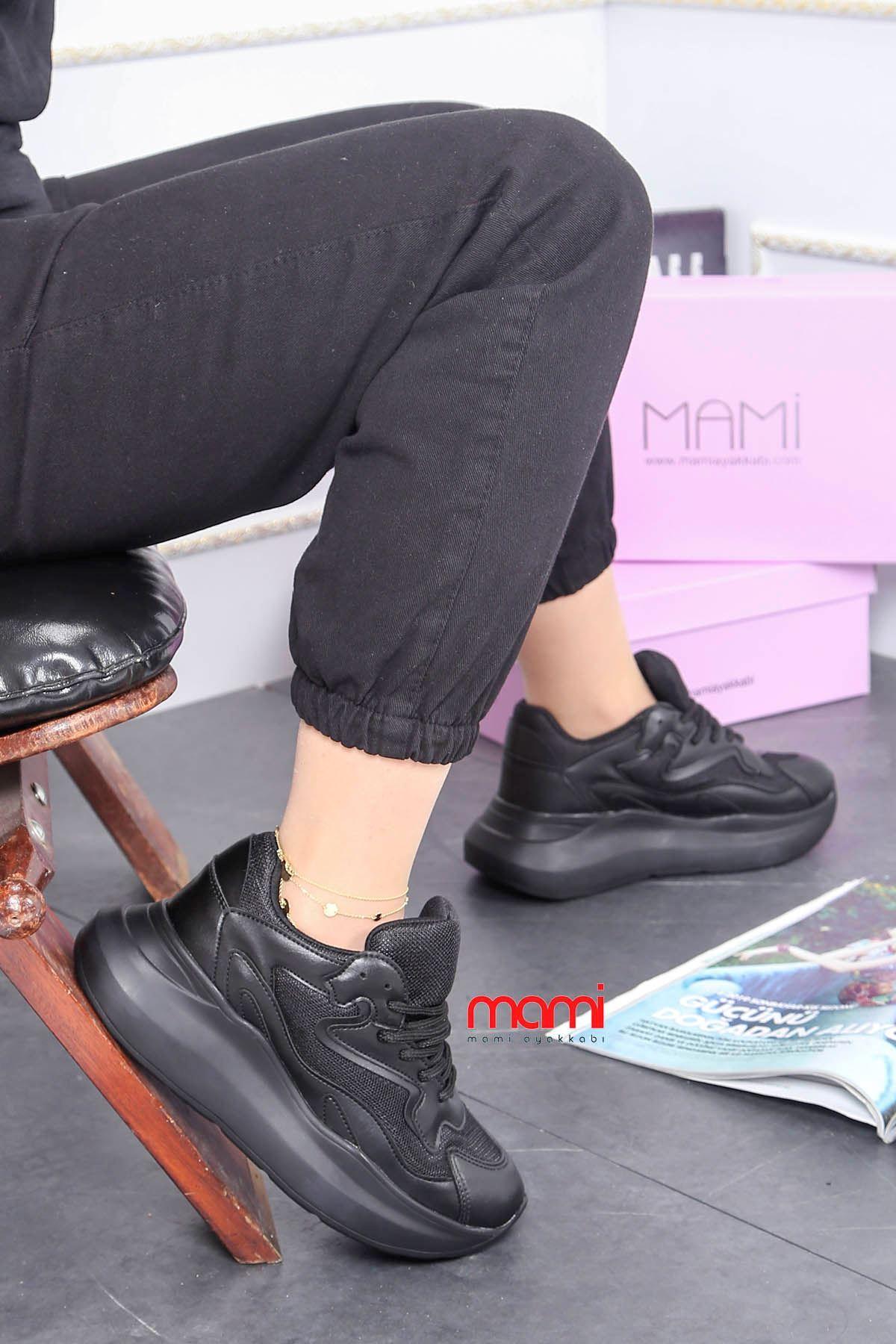 Mrt-700 Spor Ayakkabı Balon Taban Siyah Deri