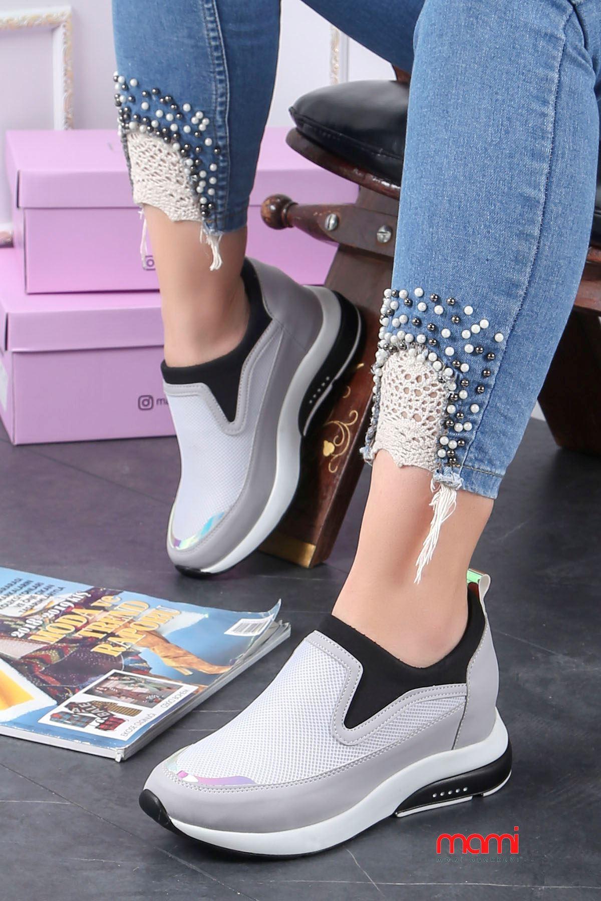 Frm-201 Spor Ayakkabı  Gizli Topuk Gri Anorak