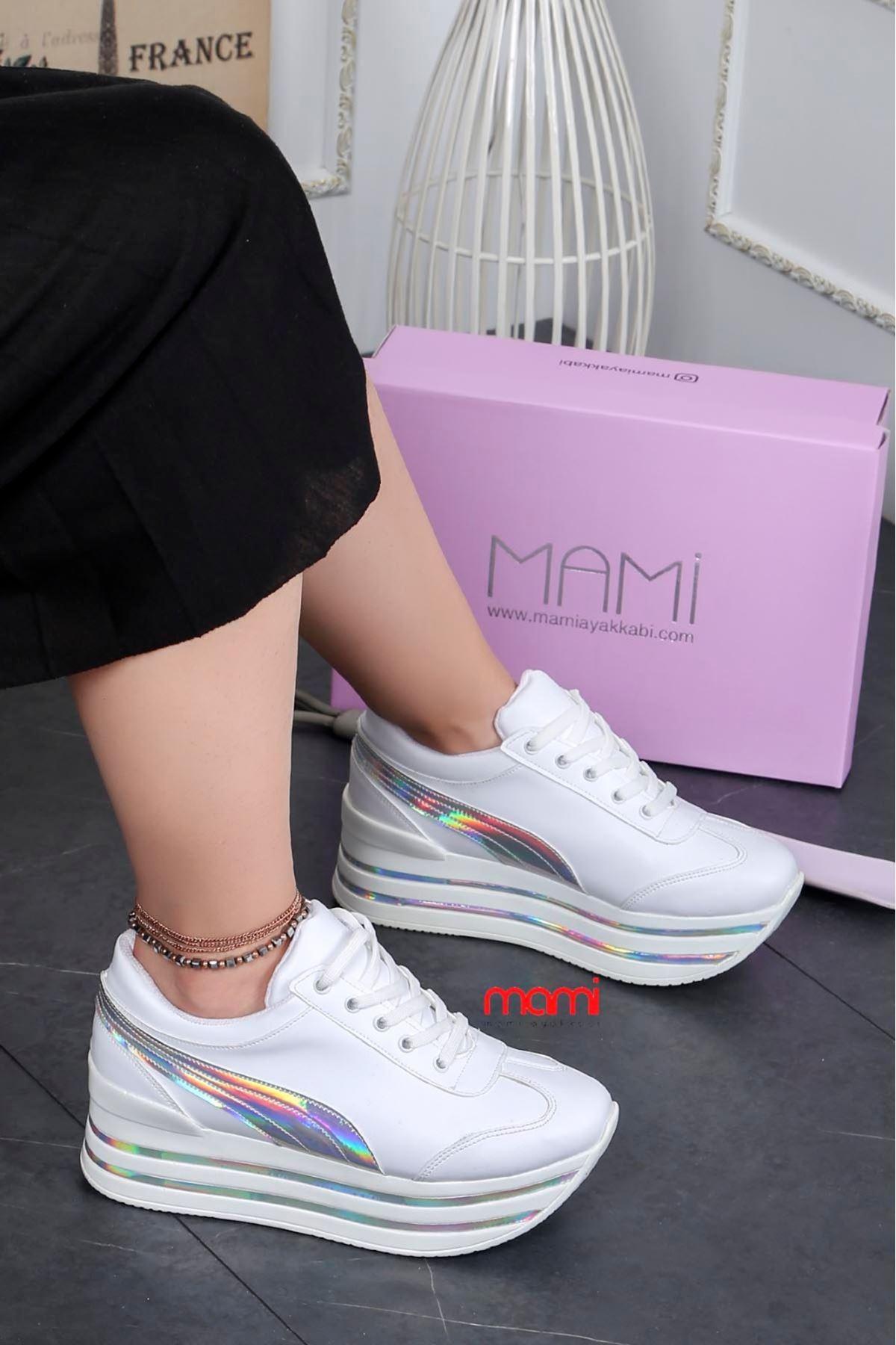 Alen Tabanlı Spor ayakkabı Beyaz Deri