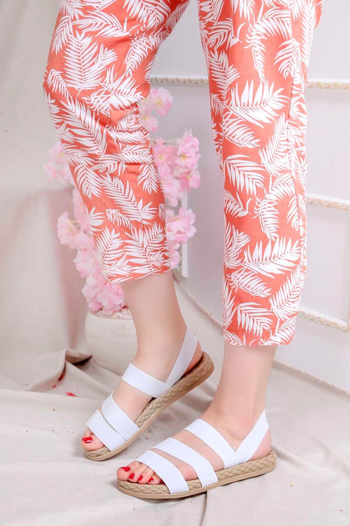 Brk-2020 Lastikli Sandalet Beyaz