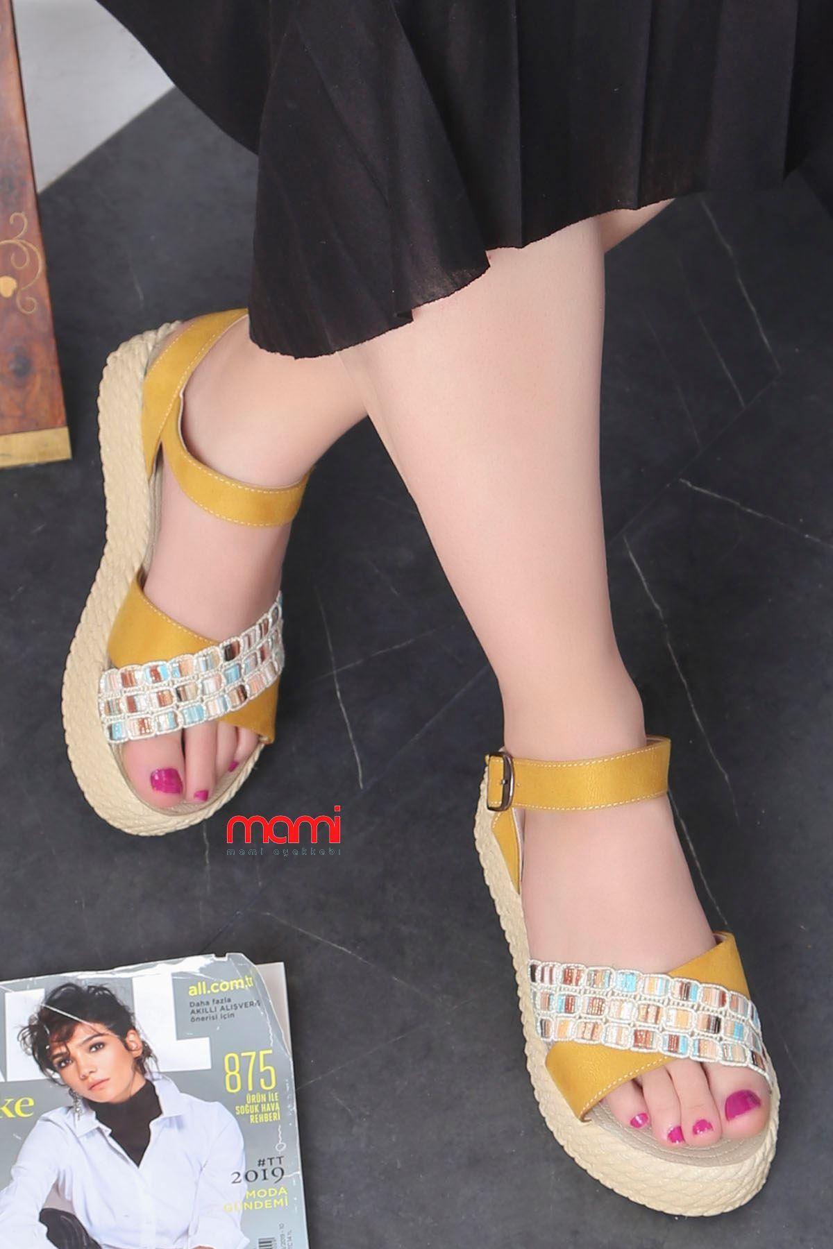 Stark-701 Sandalet Hardal Süet