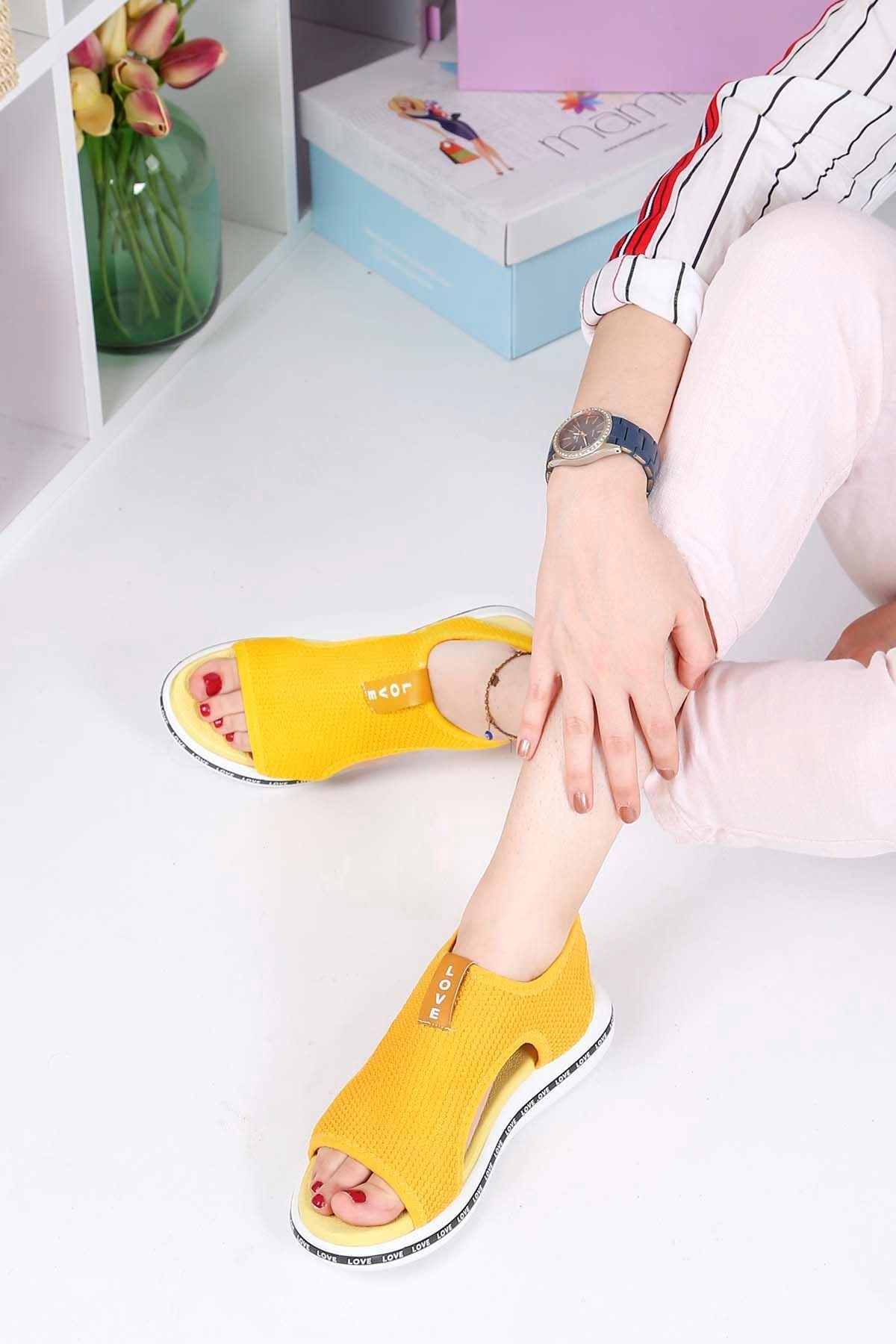 Stark-900 Triko Sandalet Sarı