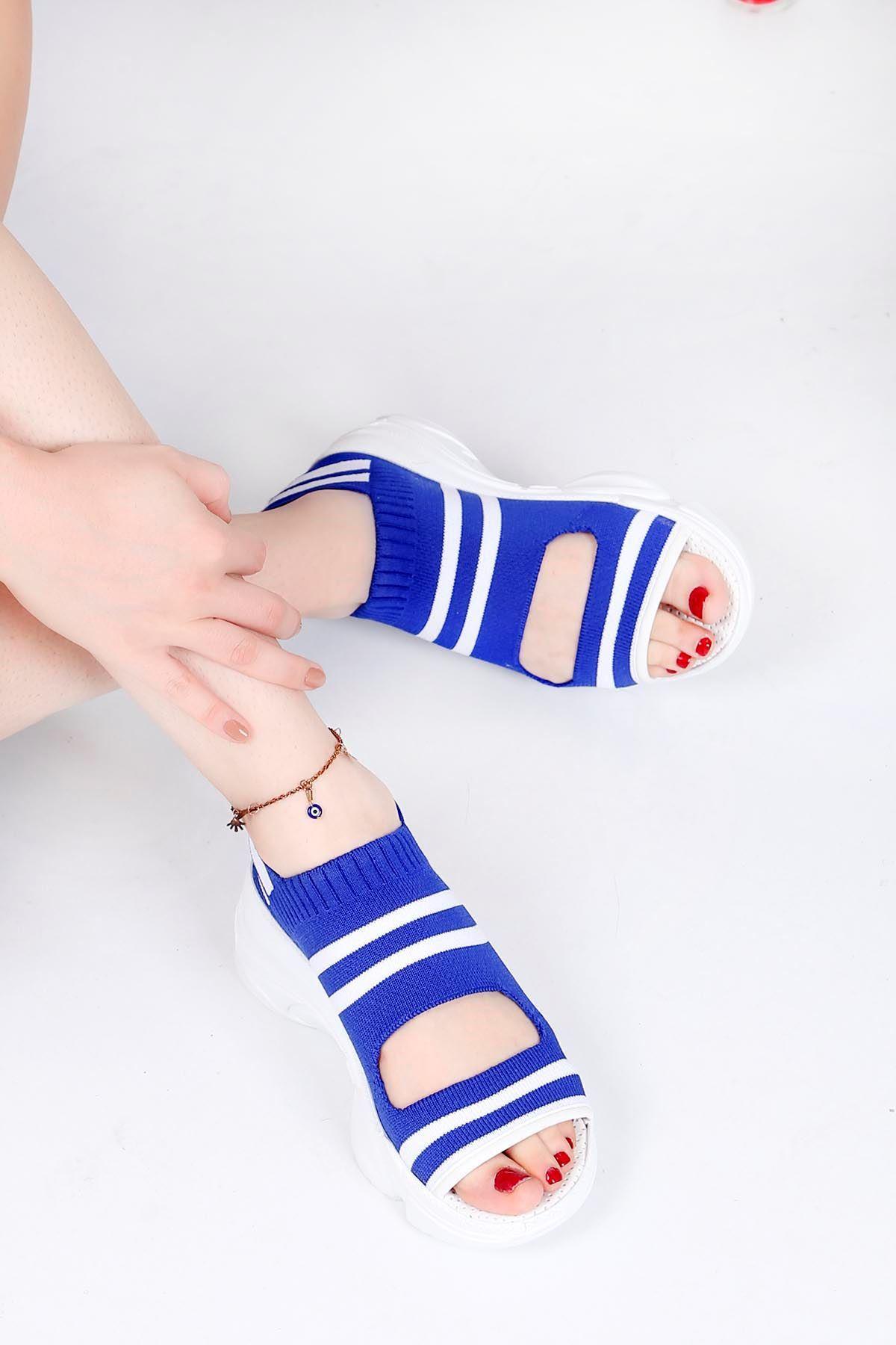 Brk-101 Triko Sandalet Mavi