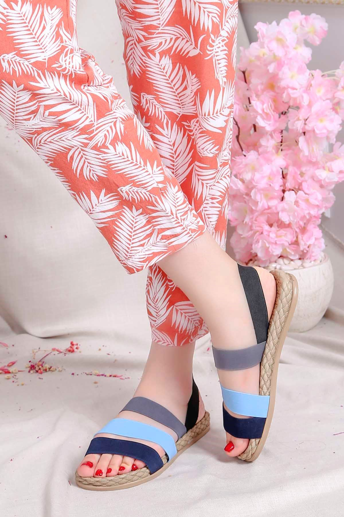 Brk-2020 Lastikli Sandalet Mavi Lacivert Gri