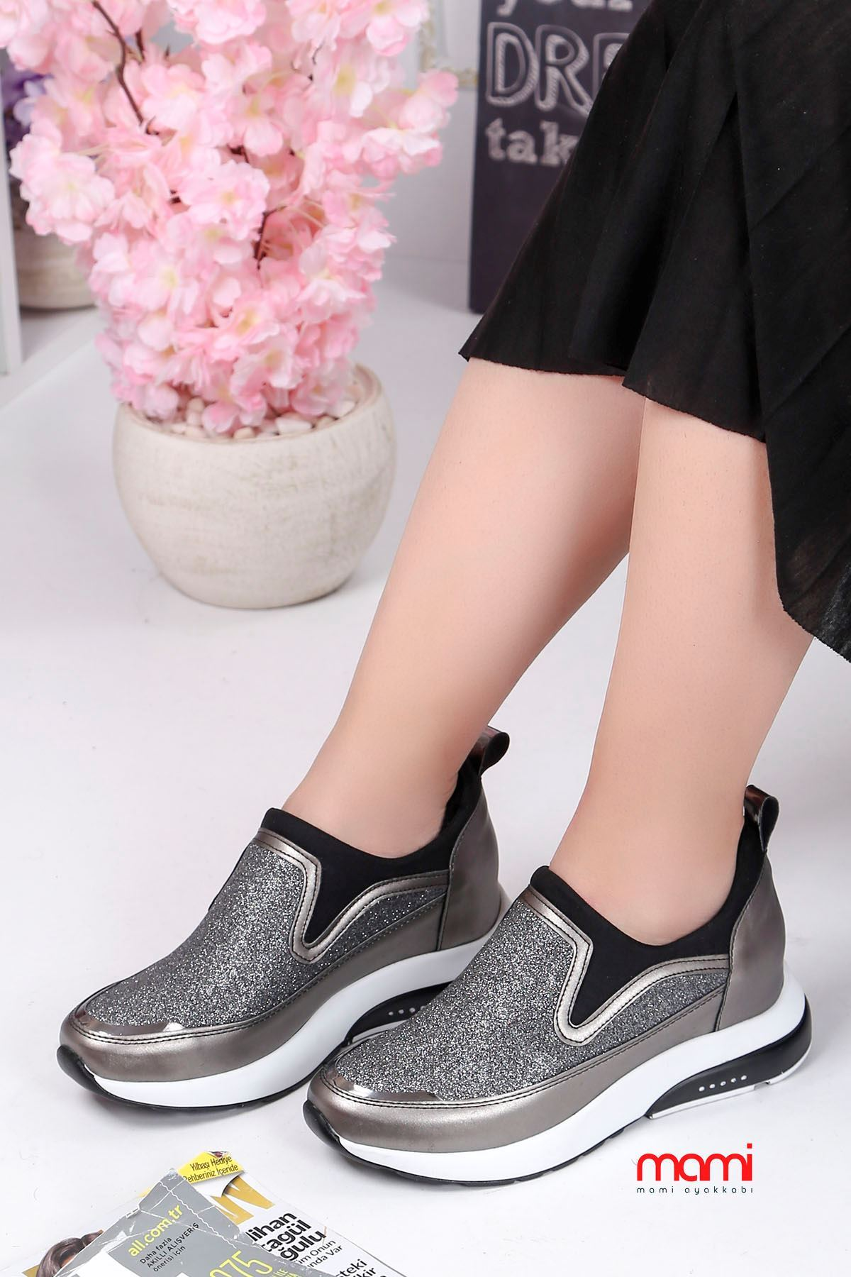 Frm-201 Spor Ayakkabı  Gizli Topuk Platin Sim Detay