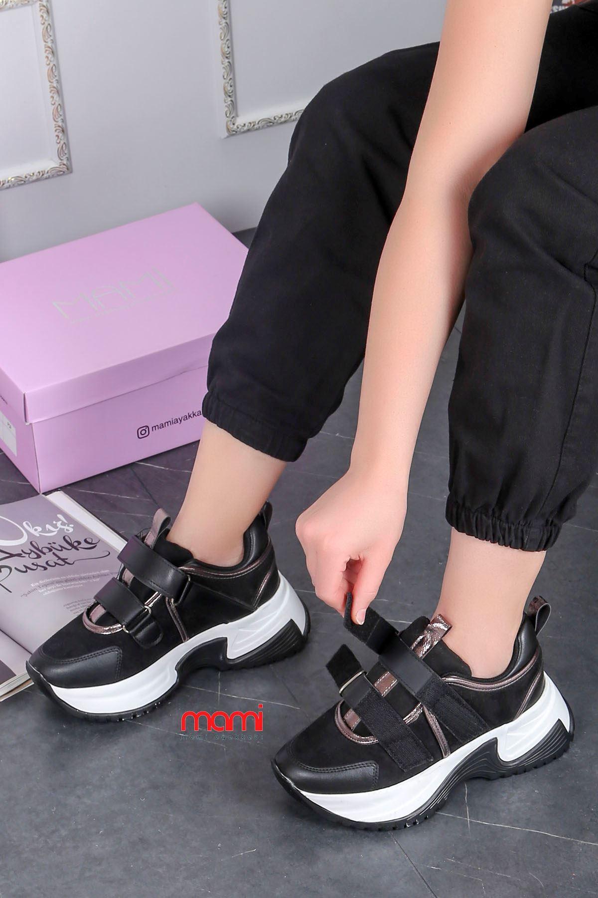 Mk-300 Cırtlı Tabanlı Spor Ayakkabı Siyah Deri