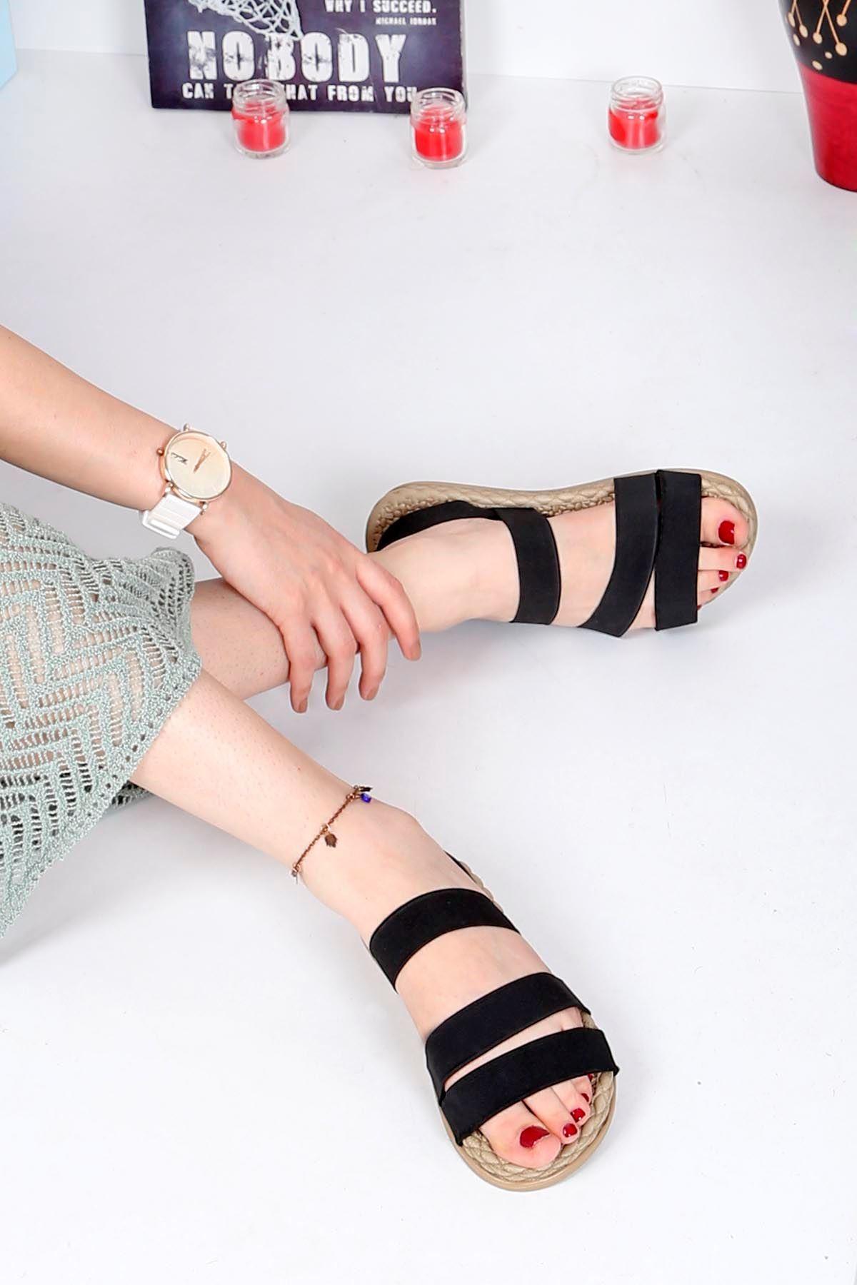 Brk-2020 Lastikli Sandalet Siyah
