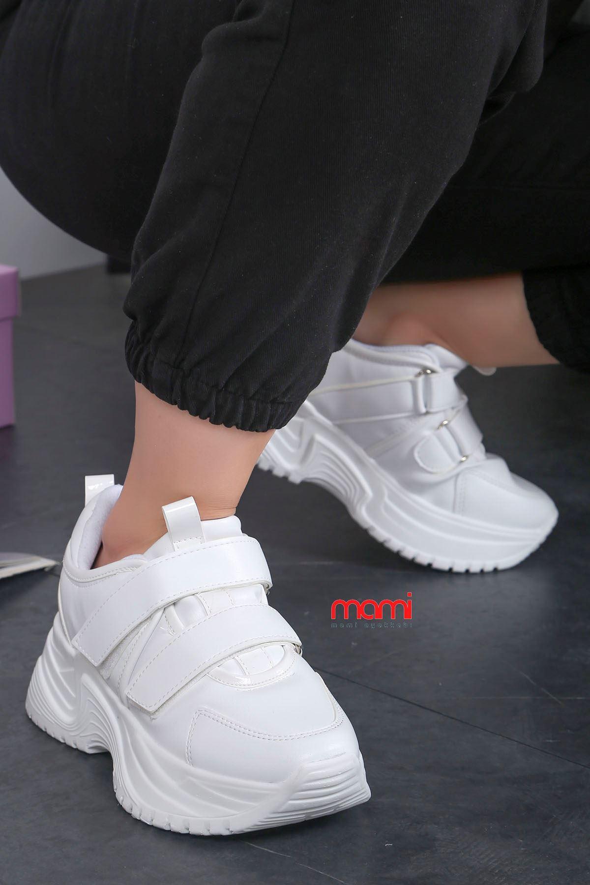 Mk-300 Cırtlı Tabanlı Spor Ayakkabı Beyaz Deri