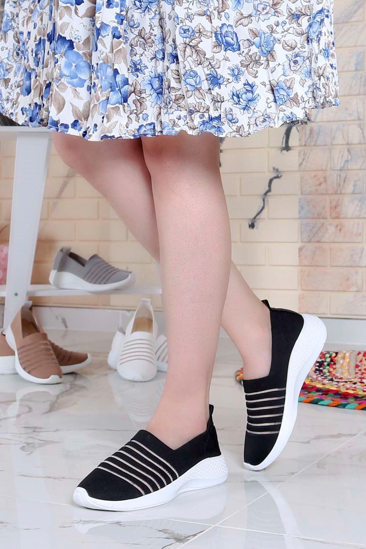 My-Fit-301 Triko Tül Detay Spor Ayakkabı Siyah